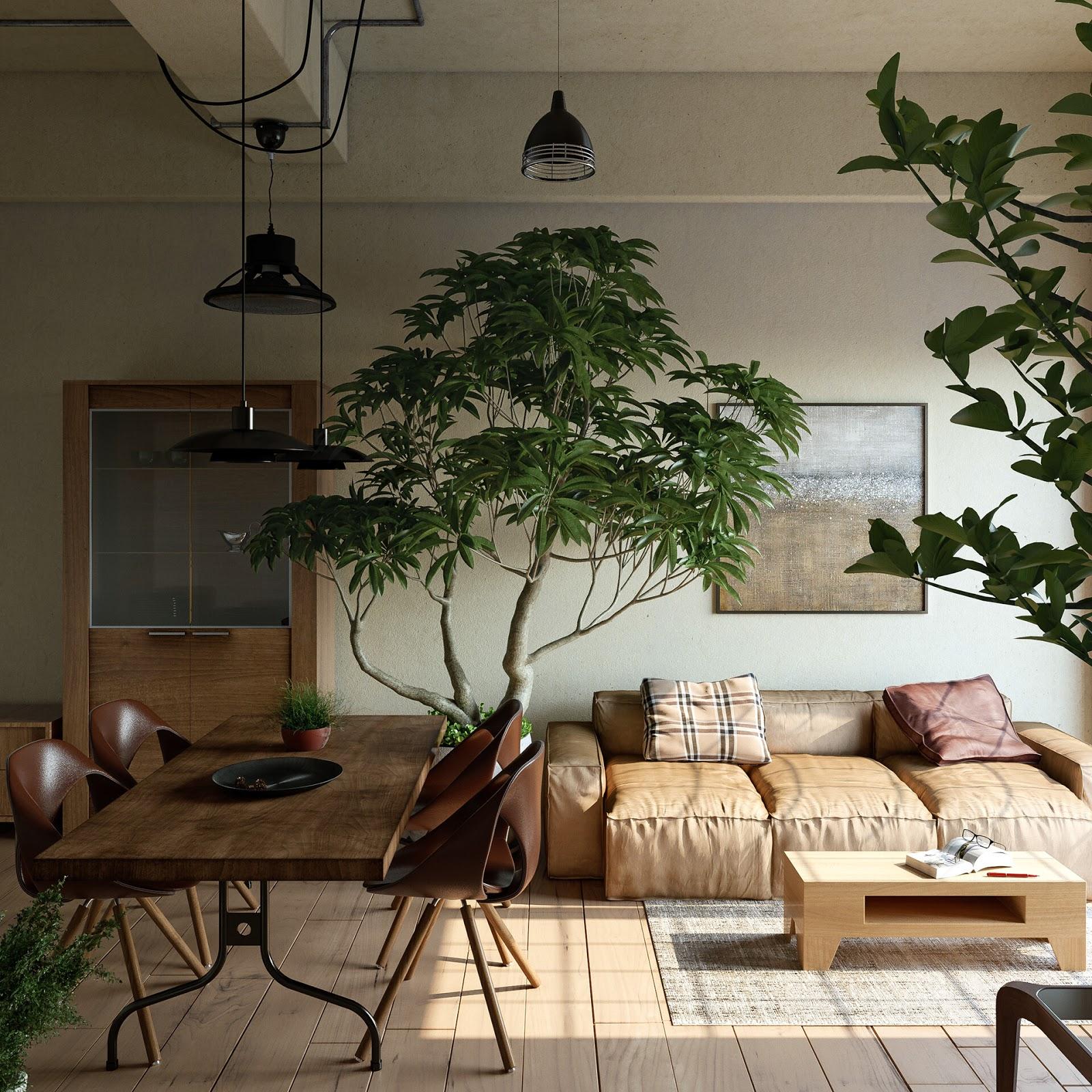 sala estilo japandi