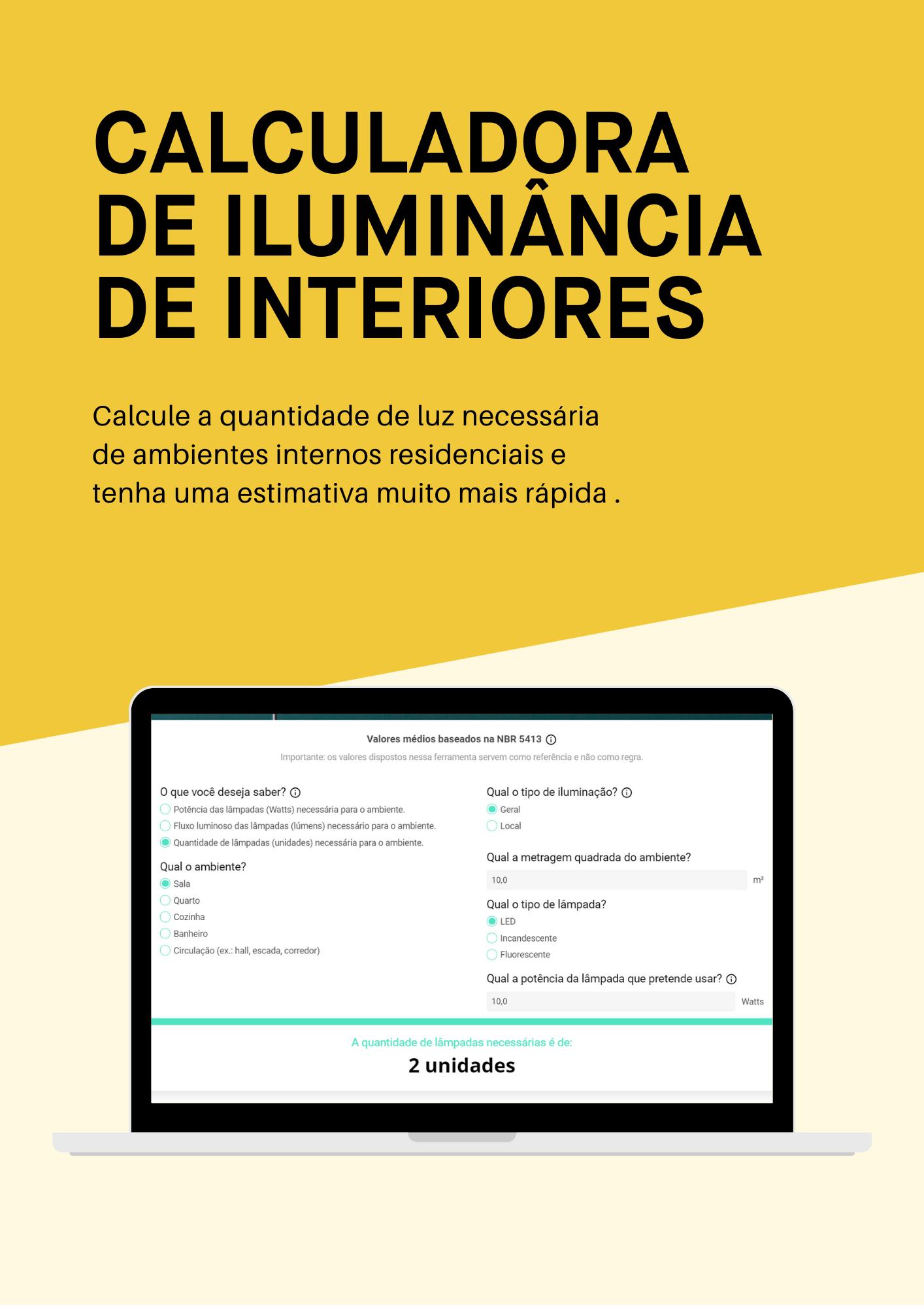 Calculadora de iluminância de interiores