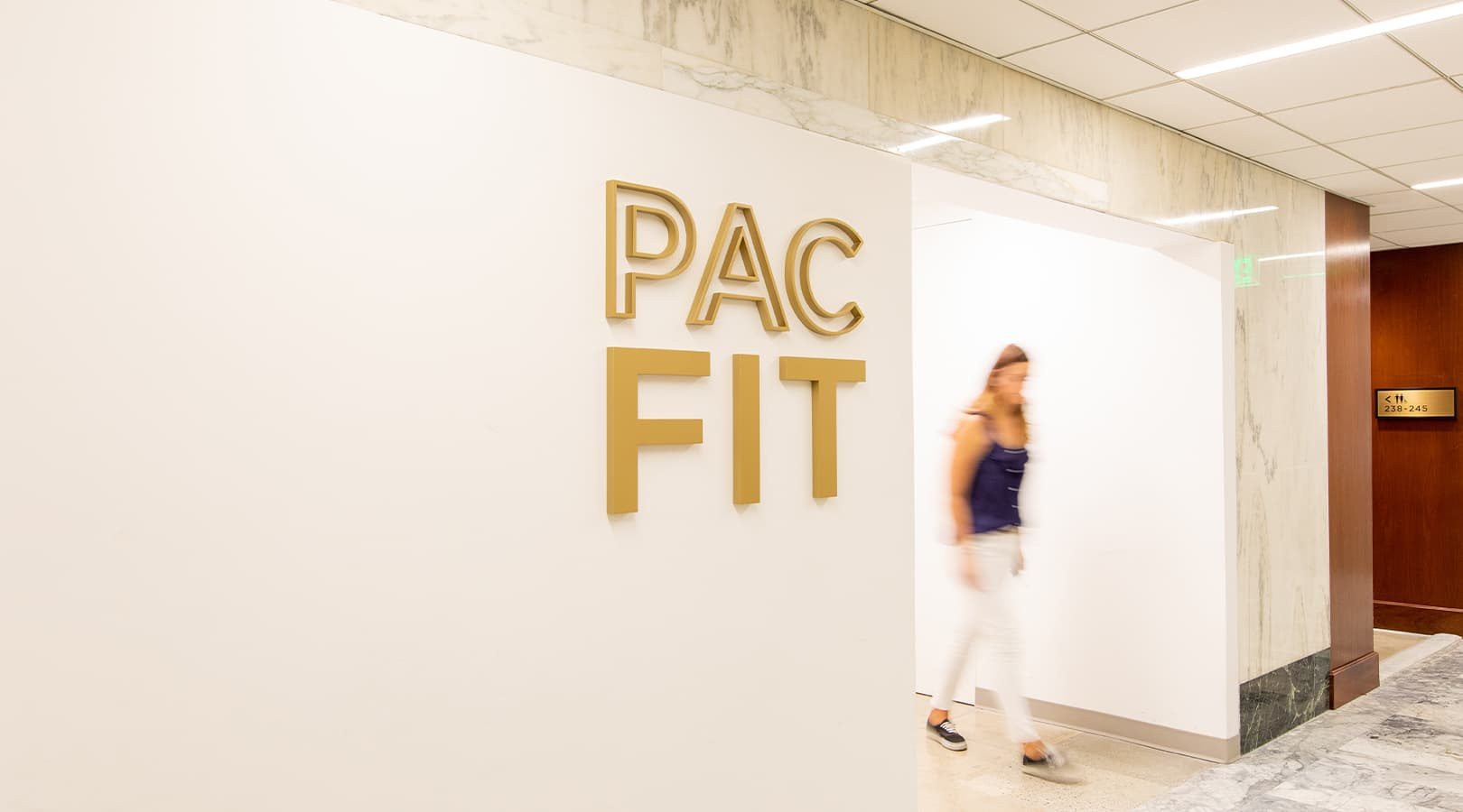 PacMutual Building, Los Angeles Gym Identity Signage