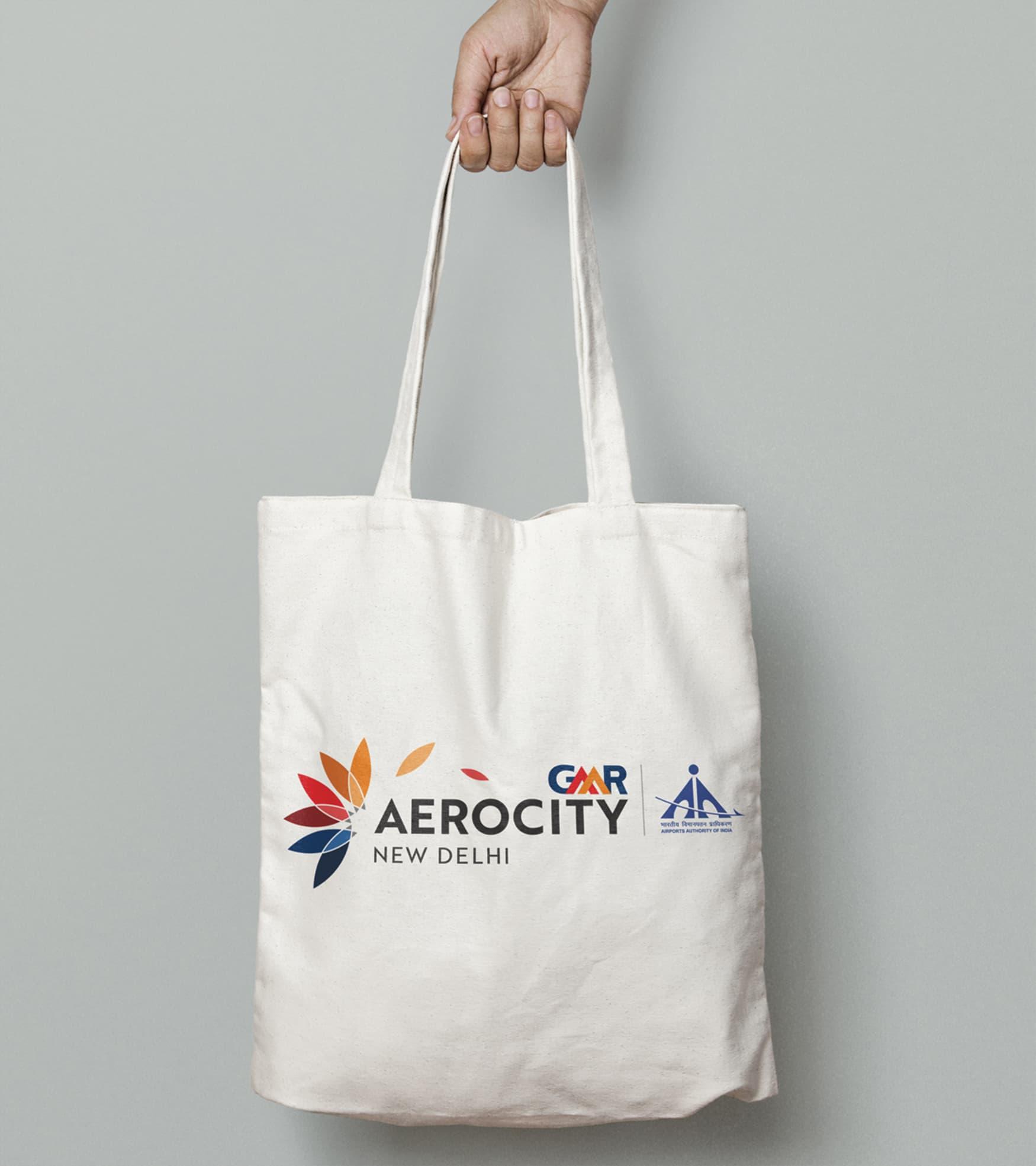 Aerocity, New Delhi, India, branded tote bag