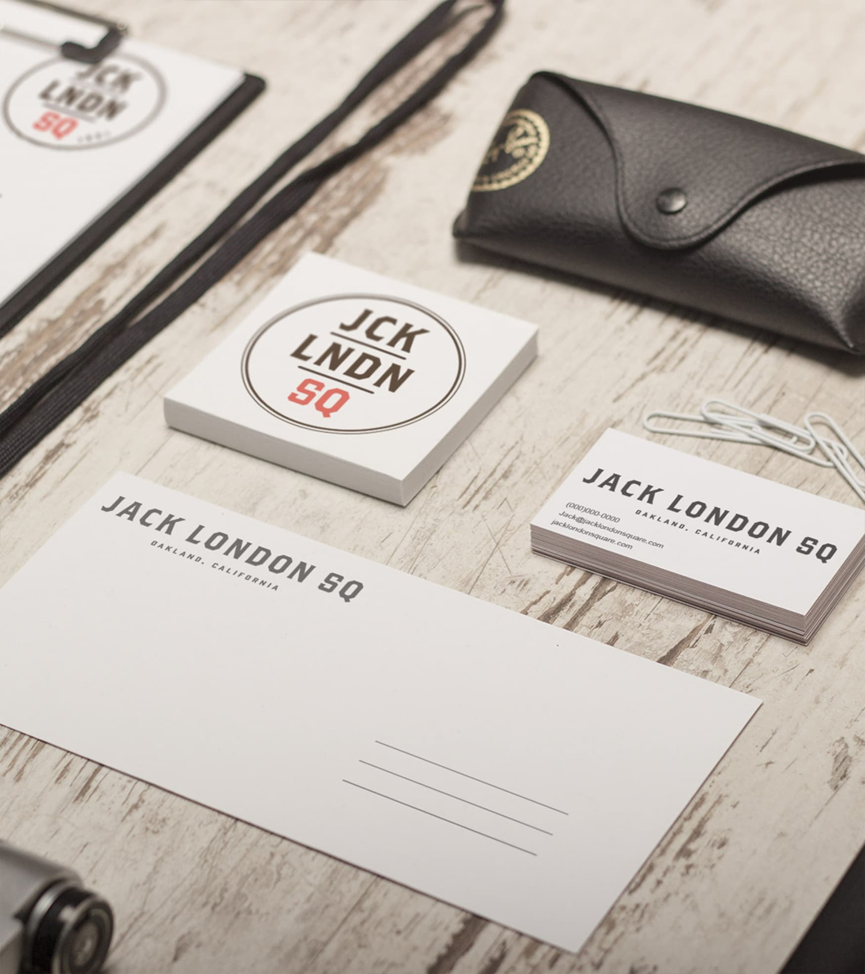Jack London Square stationary mock up branding.