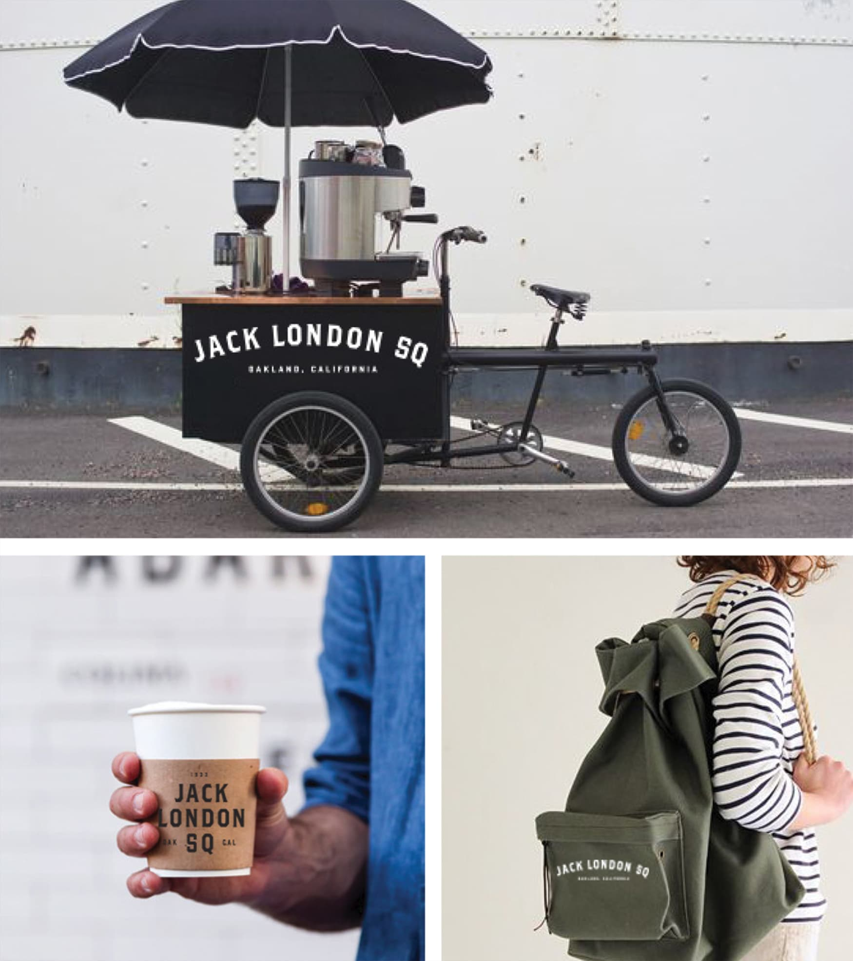 Jack London Square branded coffee cart.