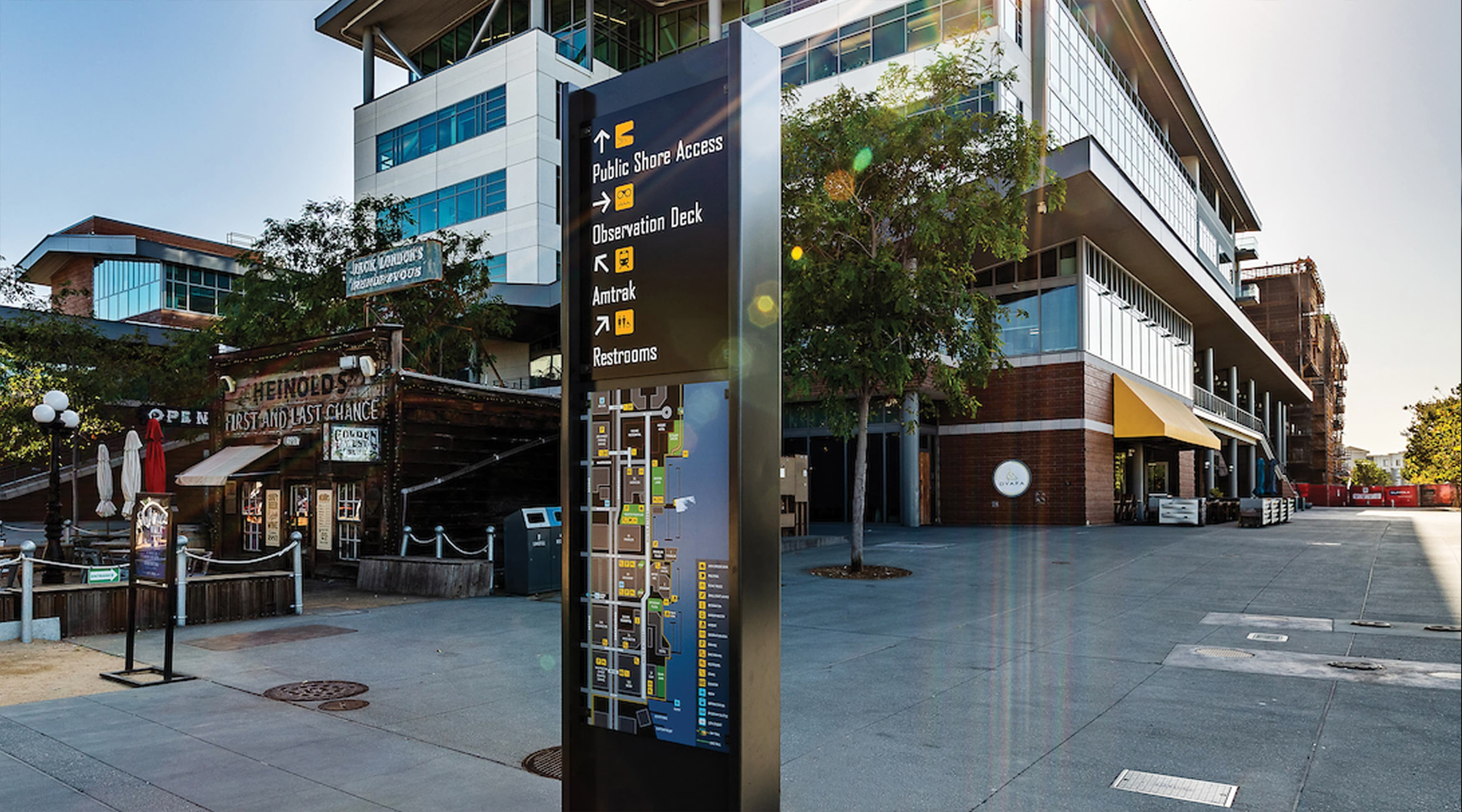 Jack London Square pedestrian wayfinding system and directory map design