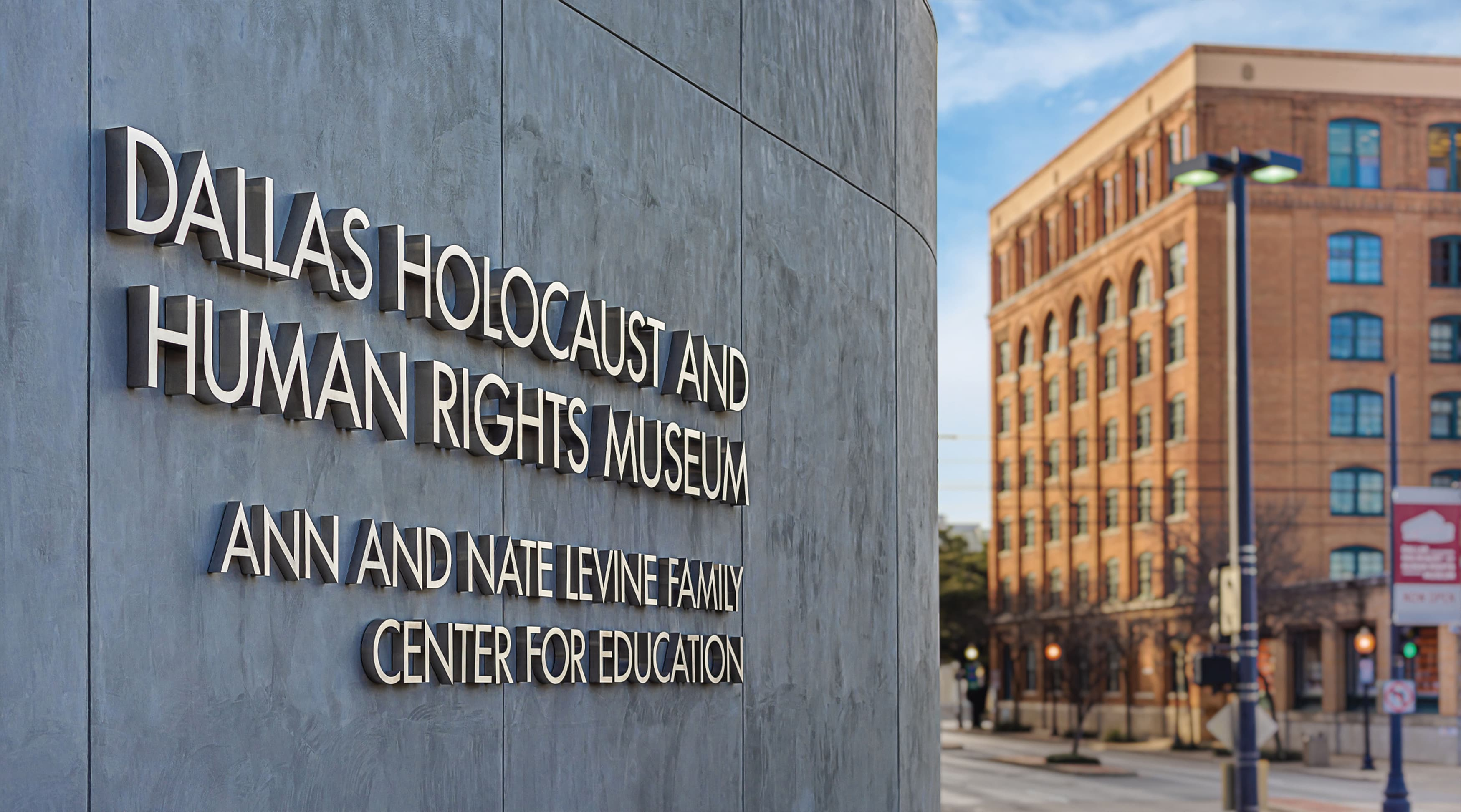 Dallas Holocaust and Human Rights Museum sign identity
