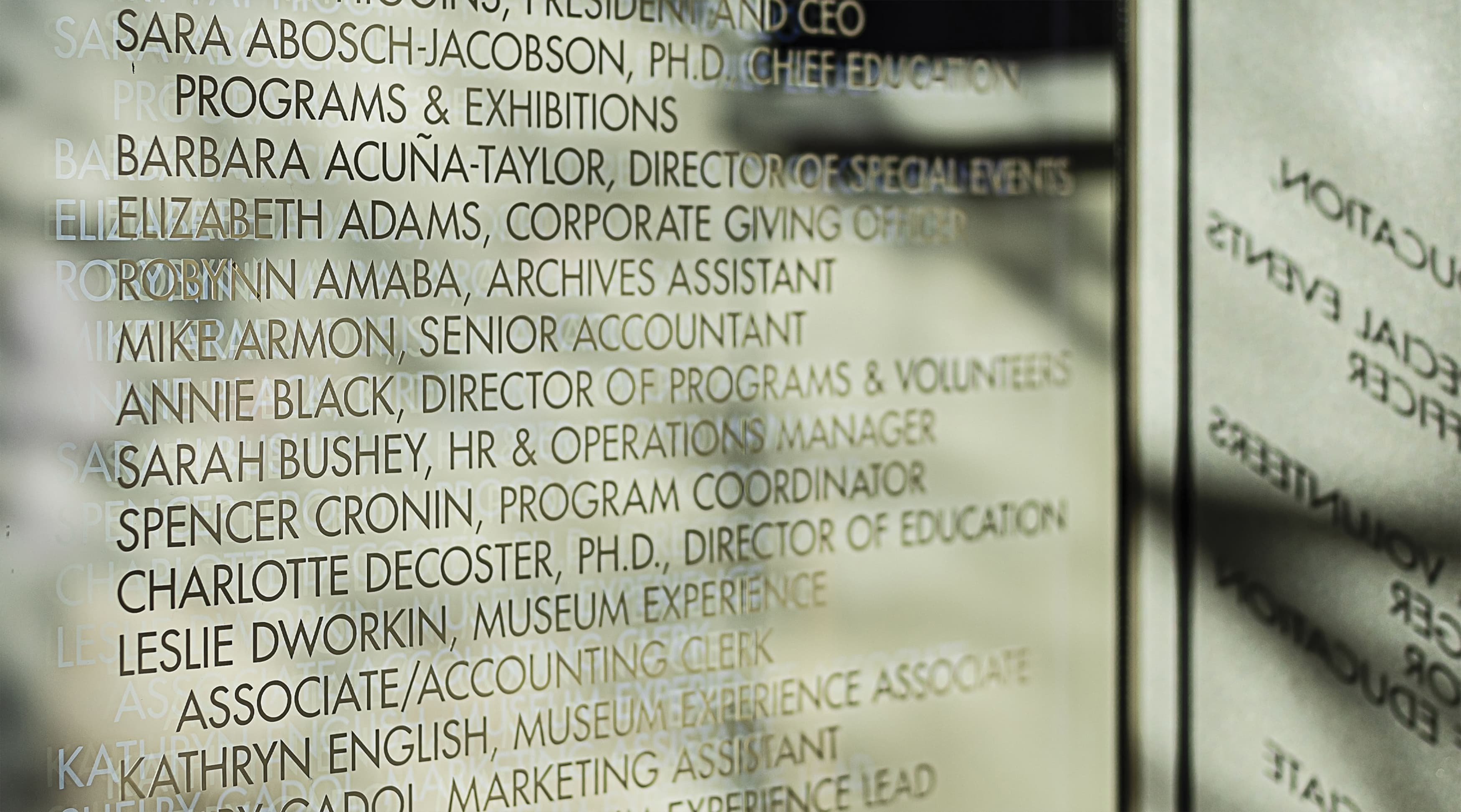 Dallas Holocaust and Human Rights Museum donor recognition signage