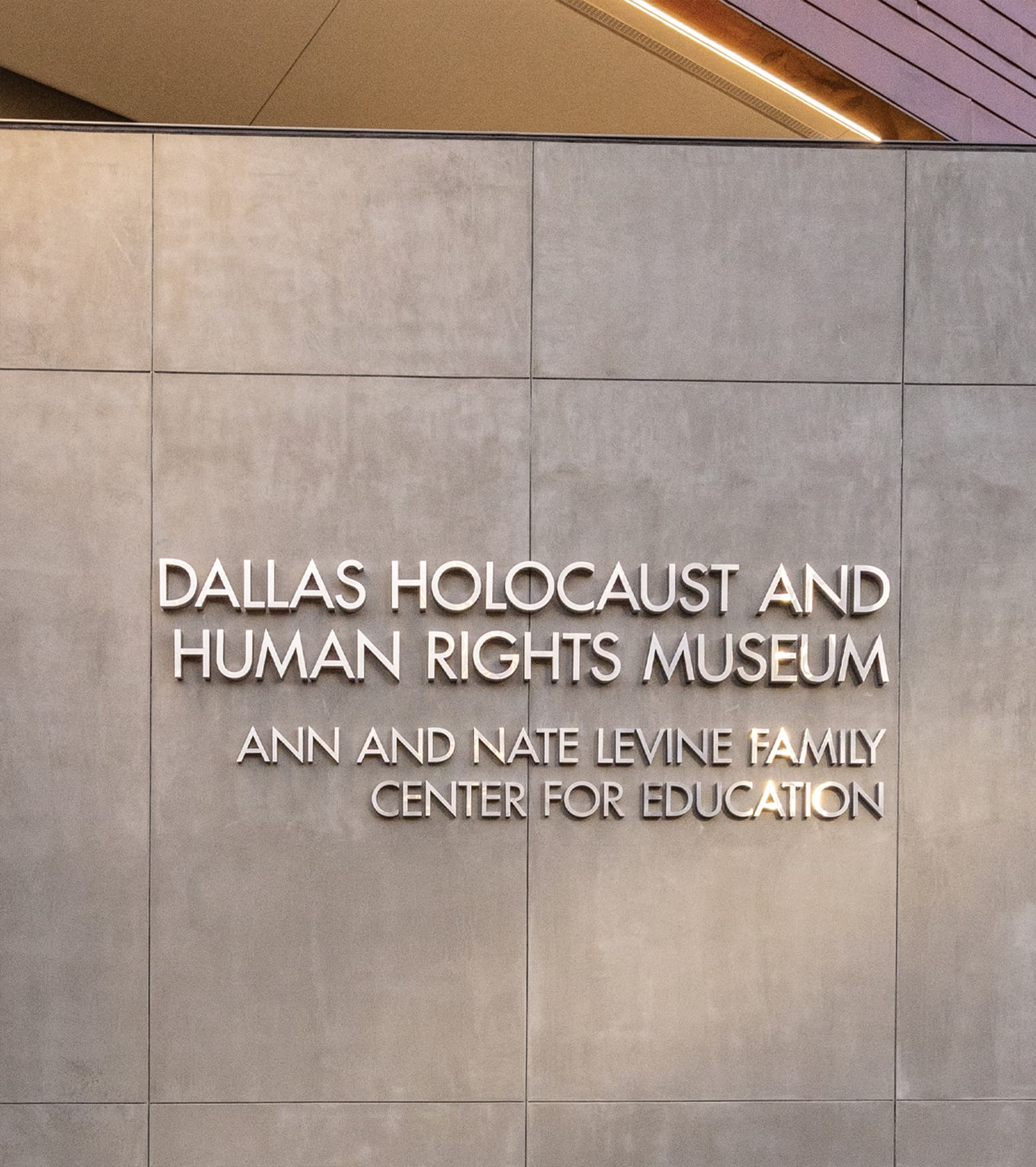 Dallas Holocaust and Human Rights Museum project identity signage