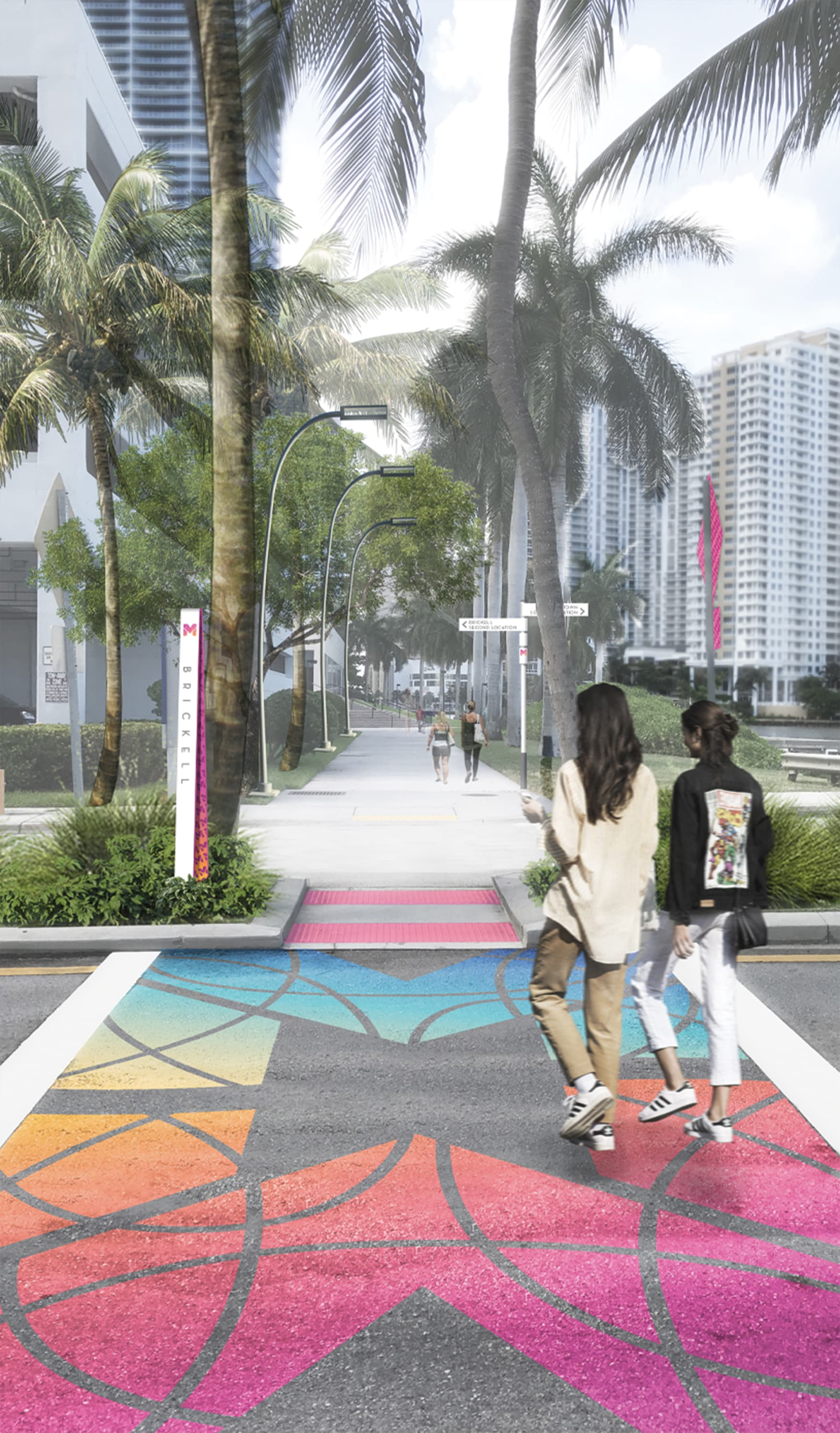 Civic Design, Transit Design, Waterfront Wayfinding Design, Streetscape Design, Park Wayfinding & Signage. Colorful crosswalk graphics for Miami Baywalk.