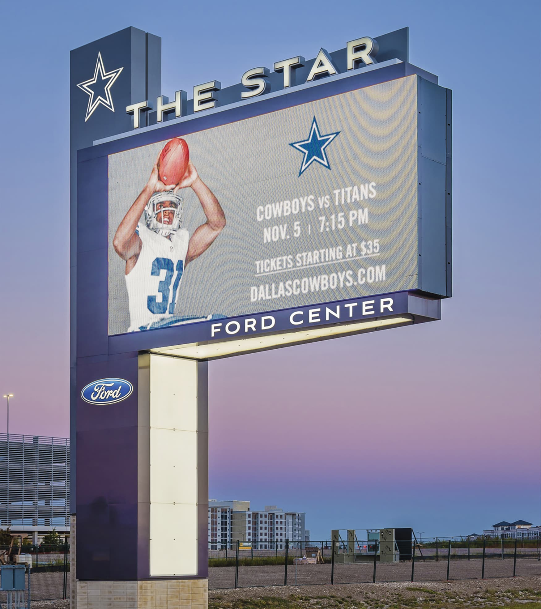 The Star Dallas Cowboys digital freeway pylon