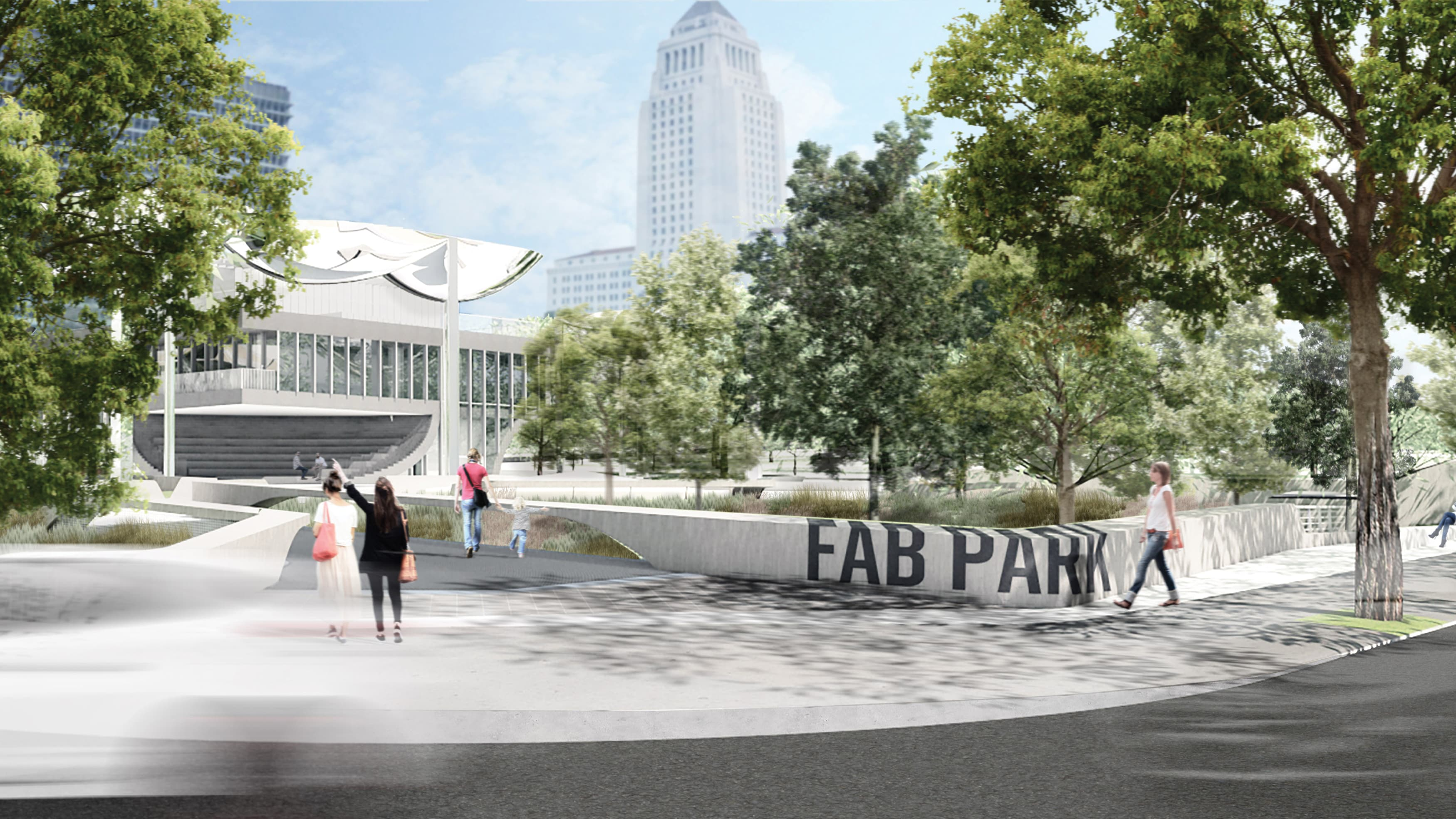 Street view of the entrance to First and Broadway Park with placemaking identity signage