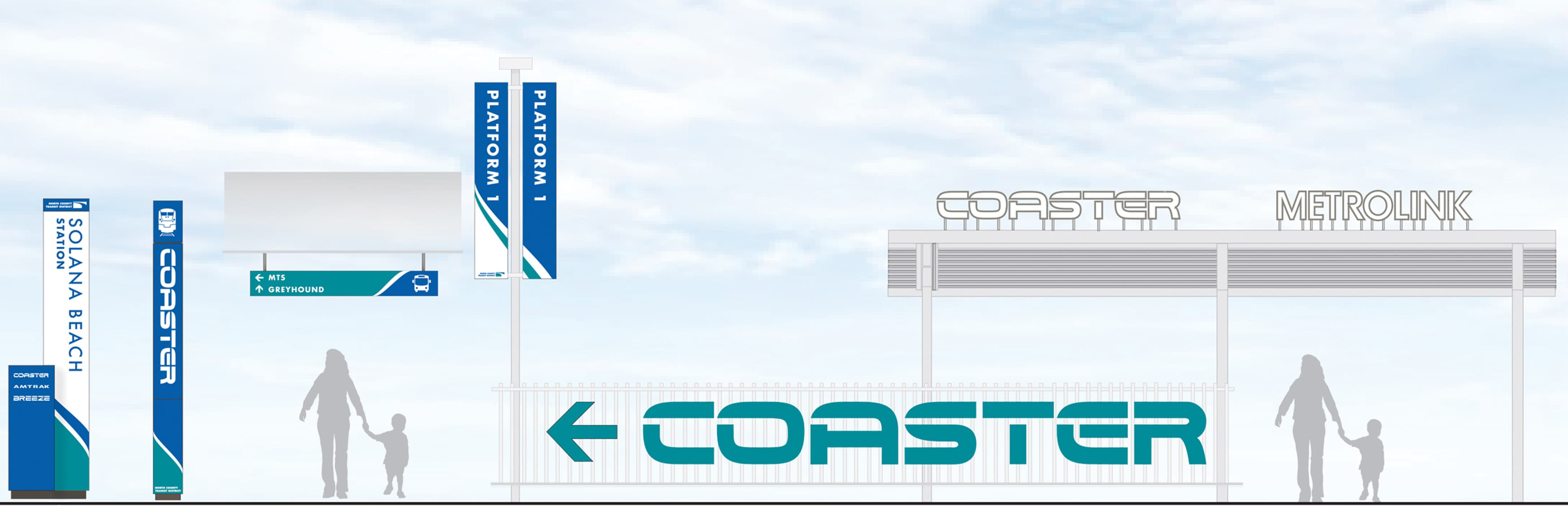 North County Transit District, the transit system in northern San Diego, California, worked with RSM Design to re-think what their transit system looks like. Light-rail wayfinding system.