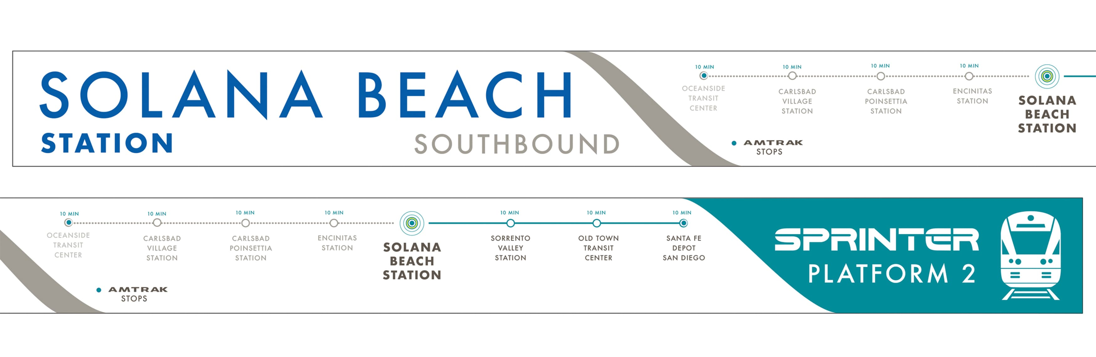 North County Transit District, the transit system in northern San Diego, California, worked with RSM Design to re-think what their transit system looks like. Transit map wayfinding system.