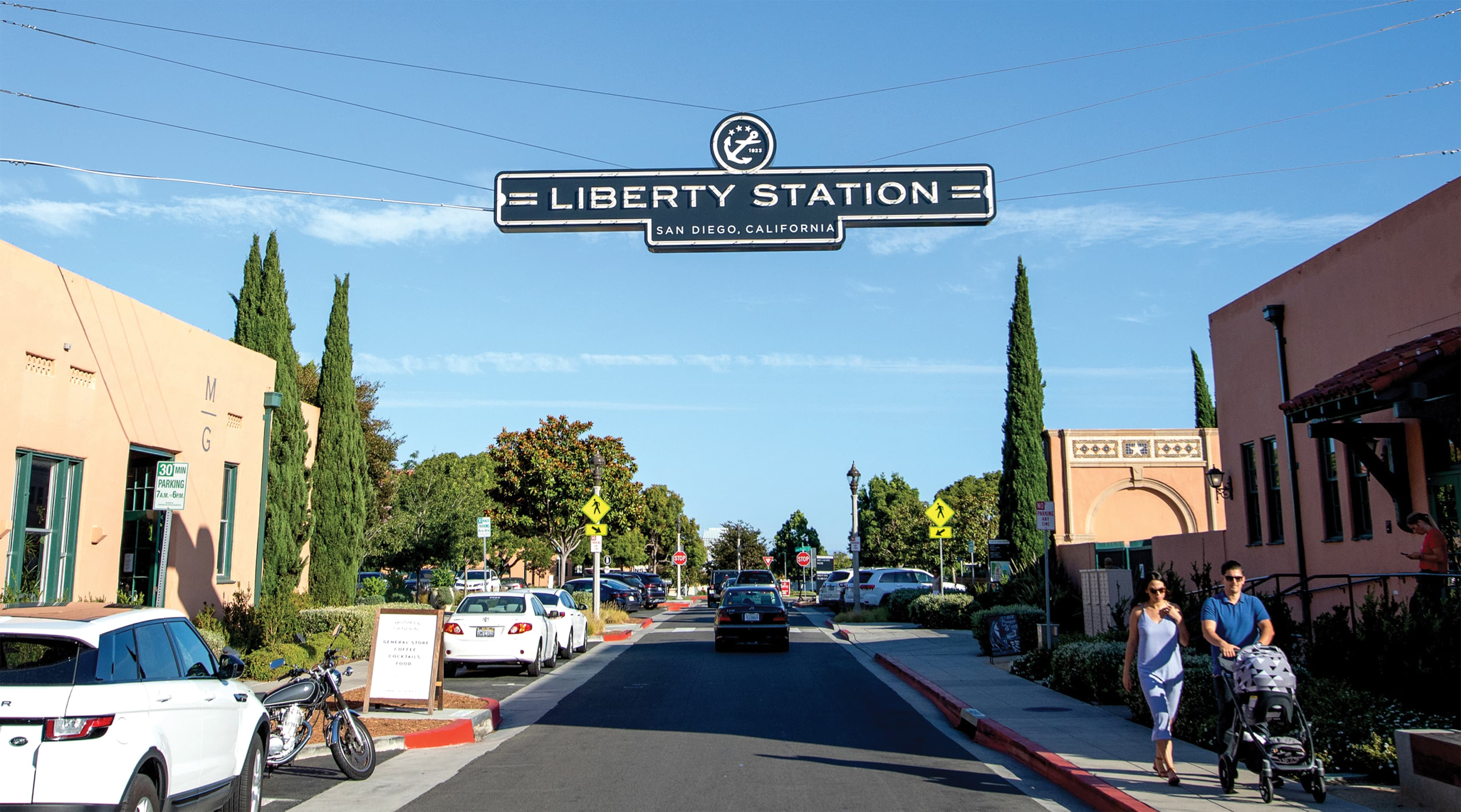 Liberty Station, San Diego, mixed-use project identity gateway signage design
