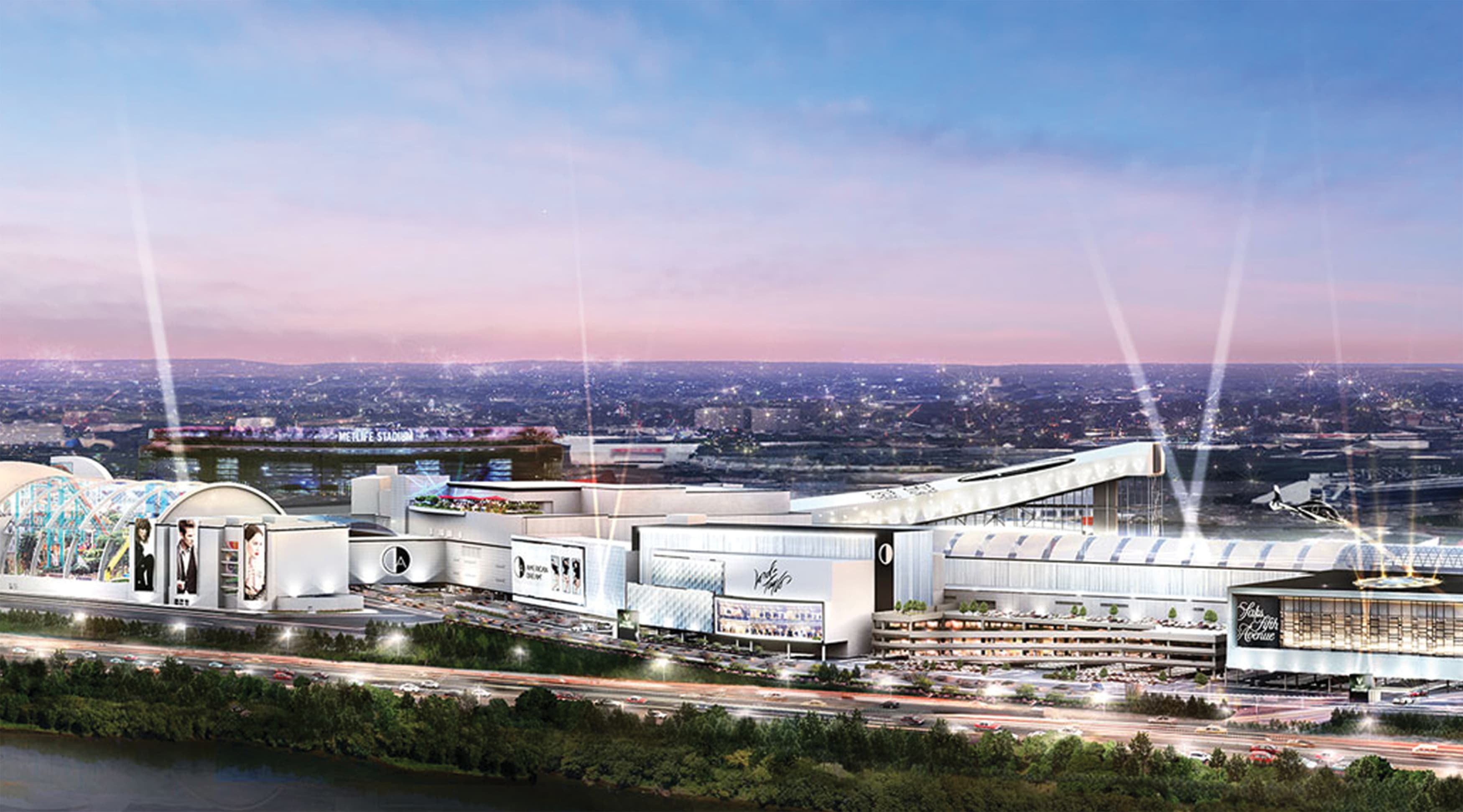 American Dream Retail Project Design in East Rutherford, New Jersey. Aerial Architectural Rendering