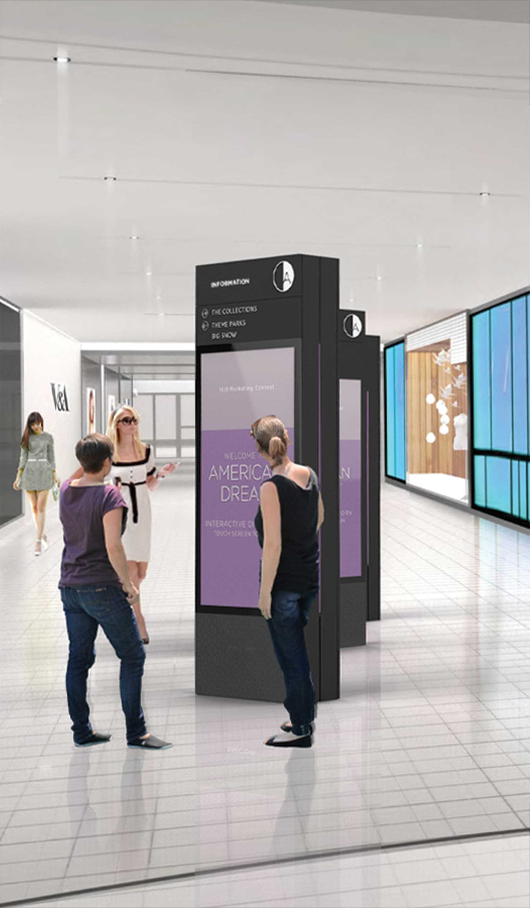 American Dream Retail Project Design in East Rutherford, New Jersey. Pedestrian Interactive Digital Directory and Wayfinding.