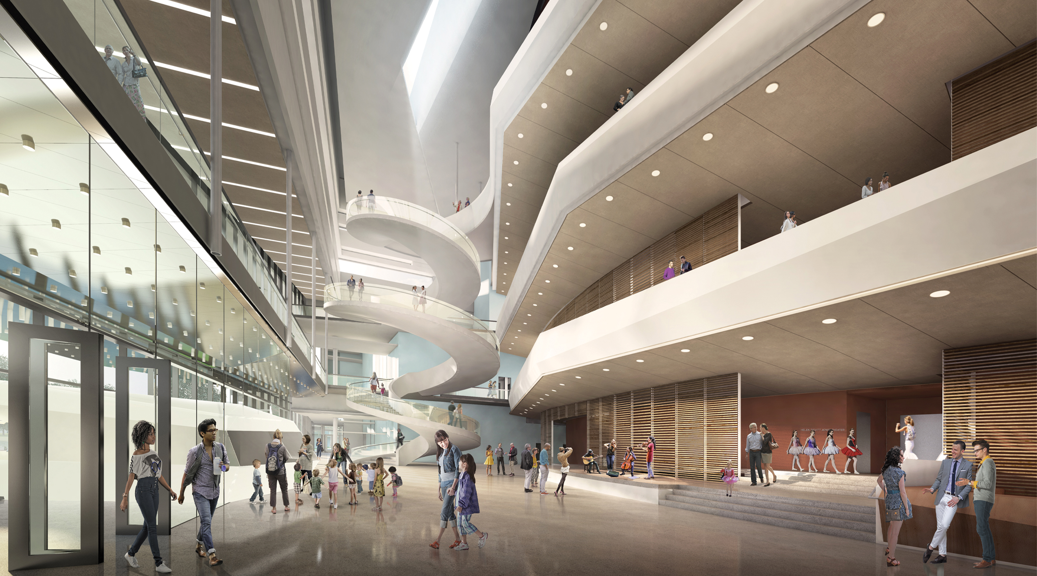 The Buddy Holly Hall of Performing Arts and Sciences, in Lubbock, Texas, interior architectural rendering