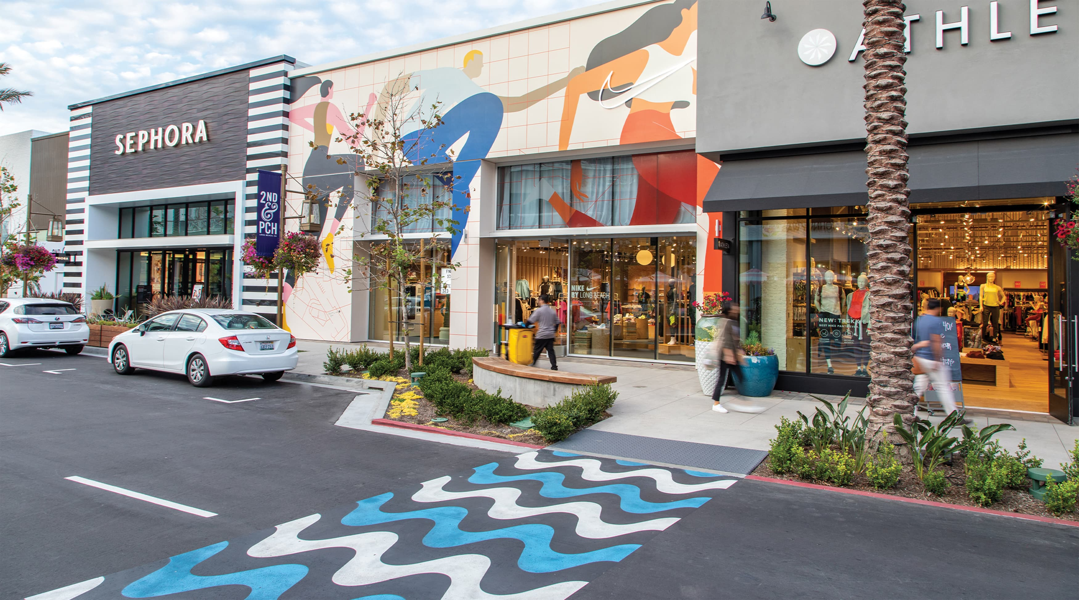 2nd & PCH storefront mural design and custom crosswalk esign