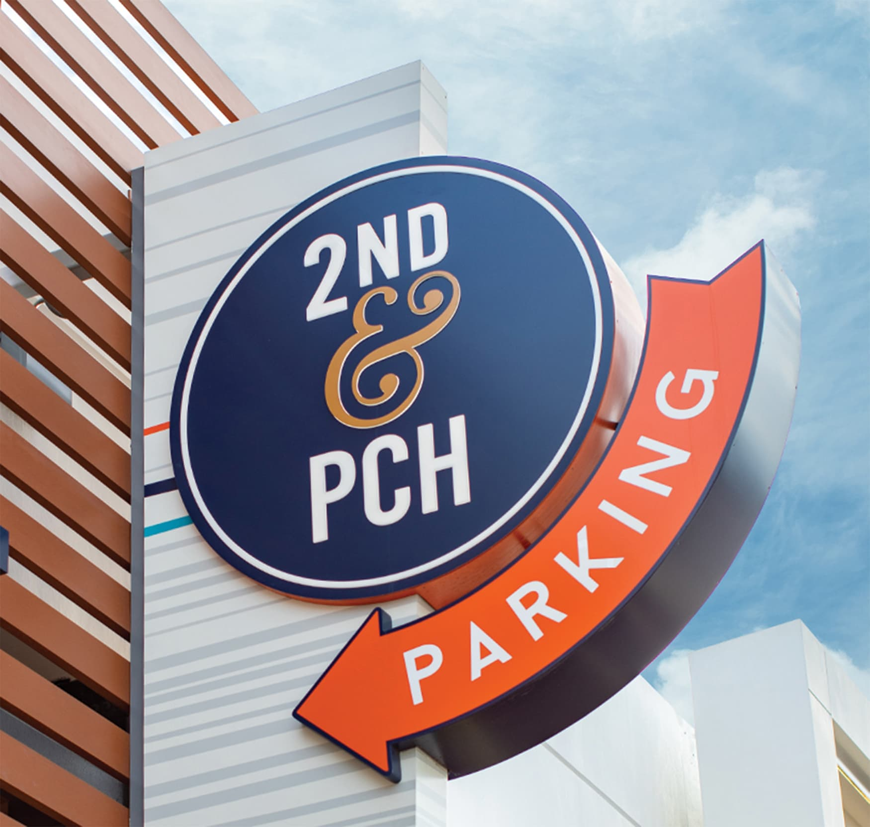2nd & PCH parking directional sign
