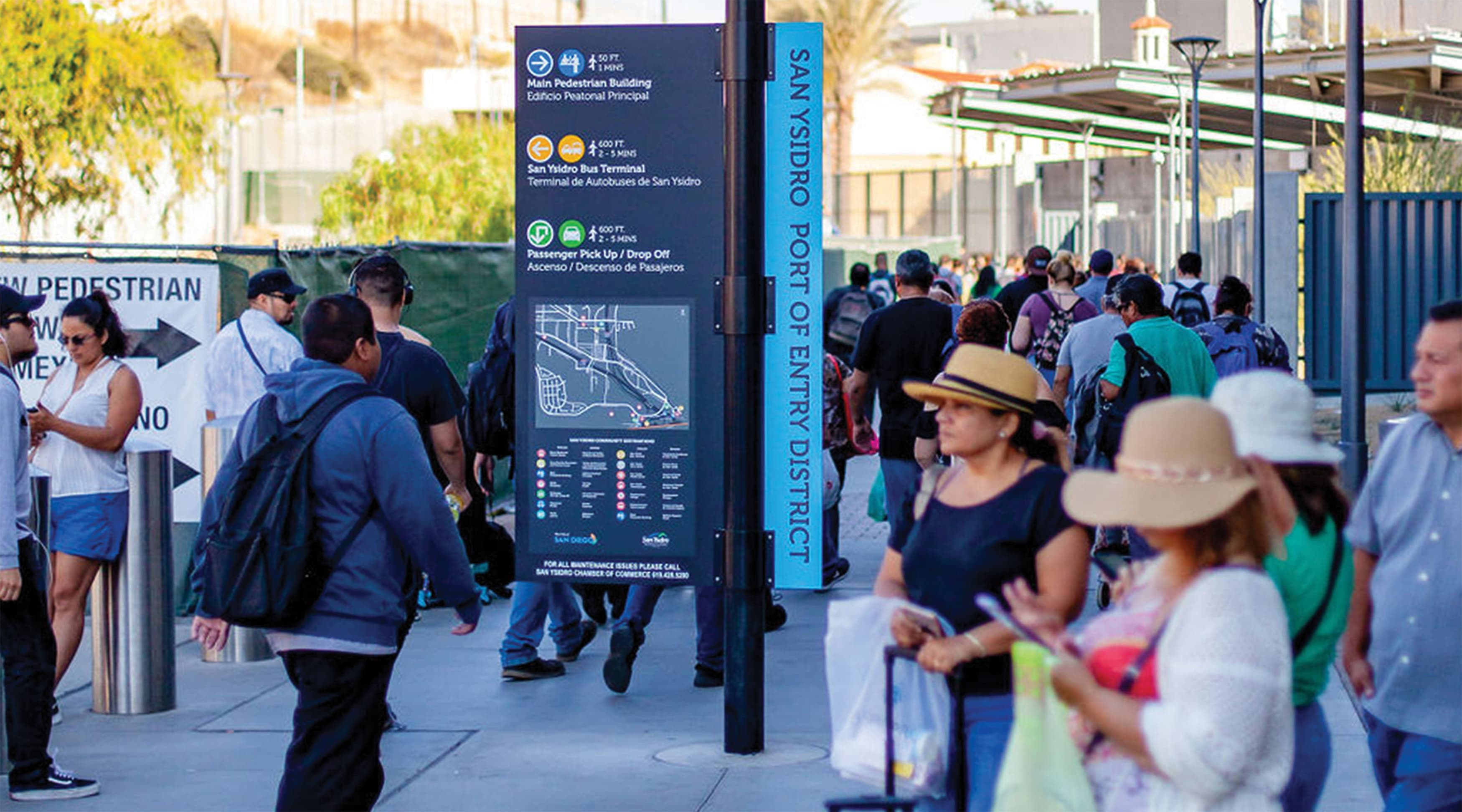 San Ysidro Port of Entry pedestrian wayfinding design and directory map design.