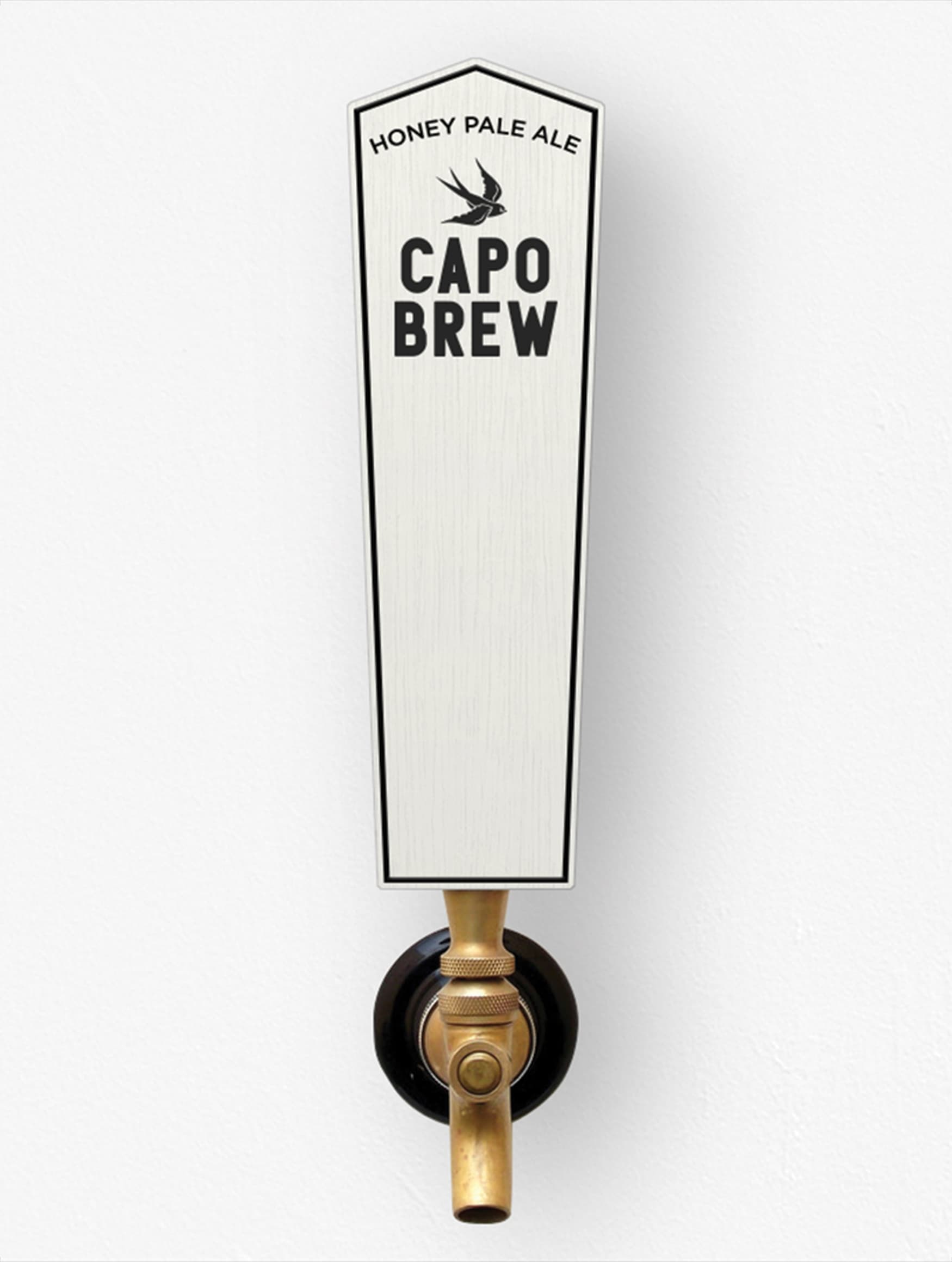 Capo Brew, a brewery located in the historic San Juan Capistrano, California, worked with RSM Design to craft a brand identity that conveyed its historic roots and cowboy personality. Branded beer tap design.