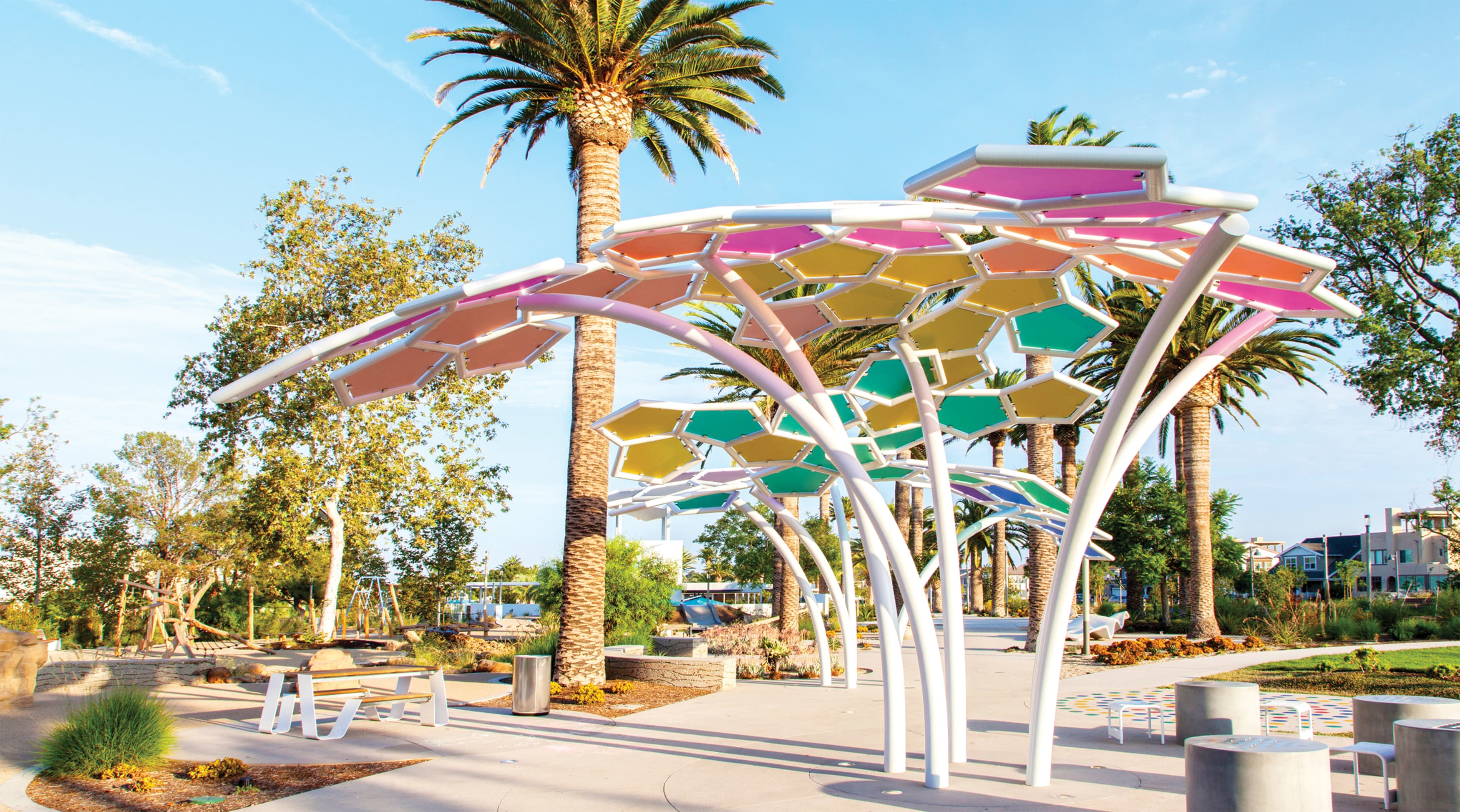 Great Park Neighborhoods colorful shade structure