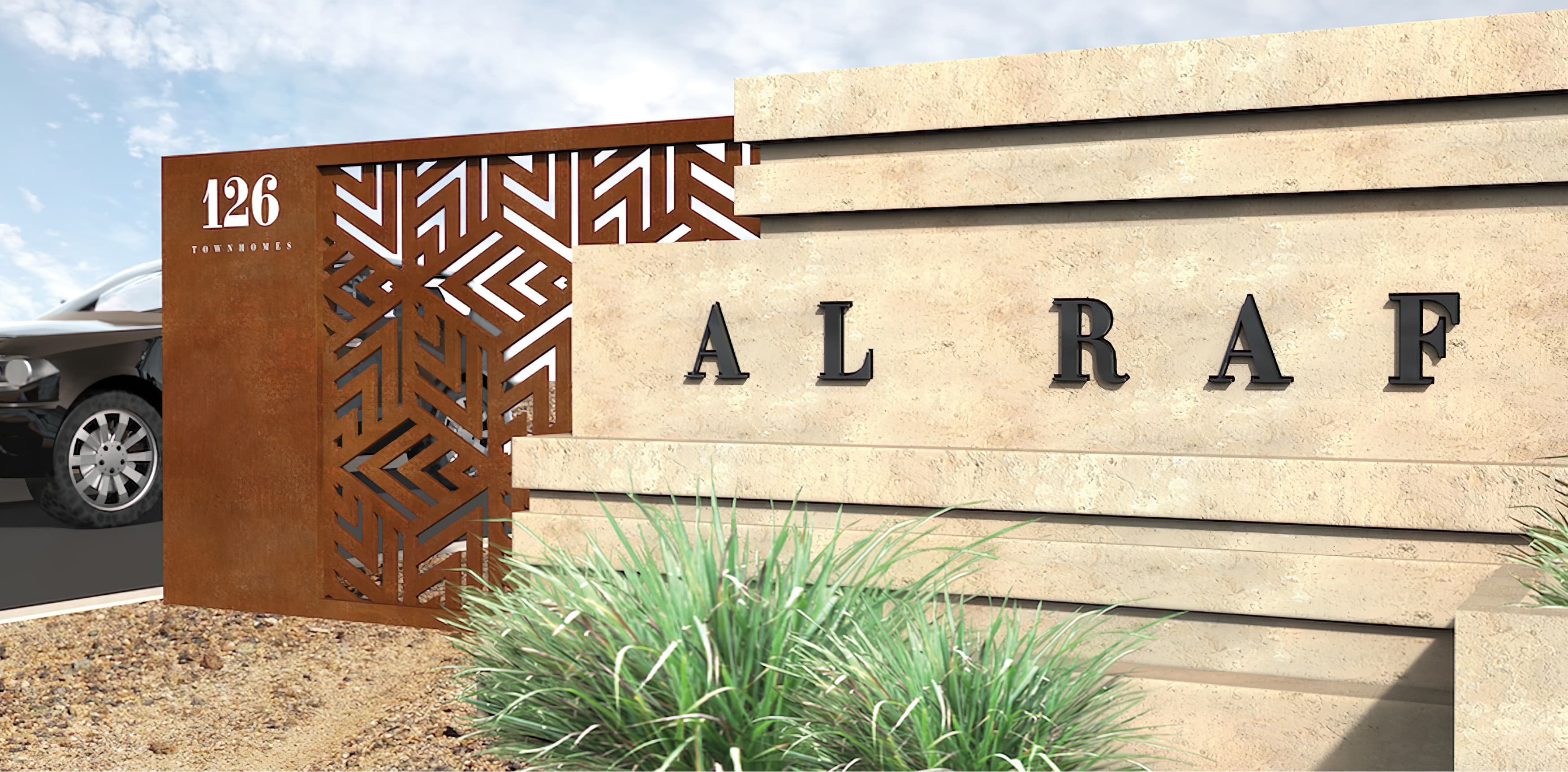 Al Raffah, a residential development in Bahrain. Monument Signage.