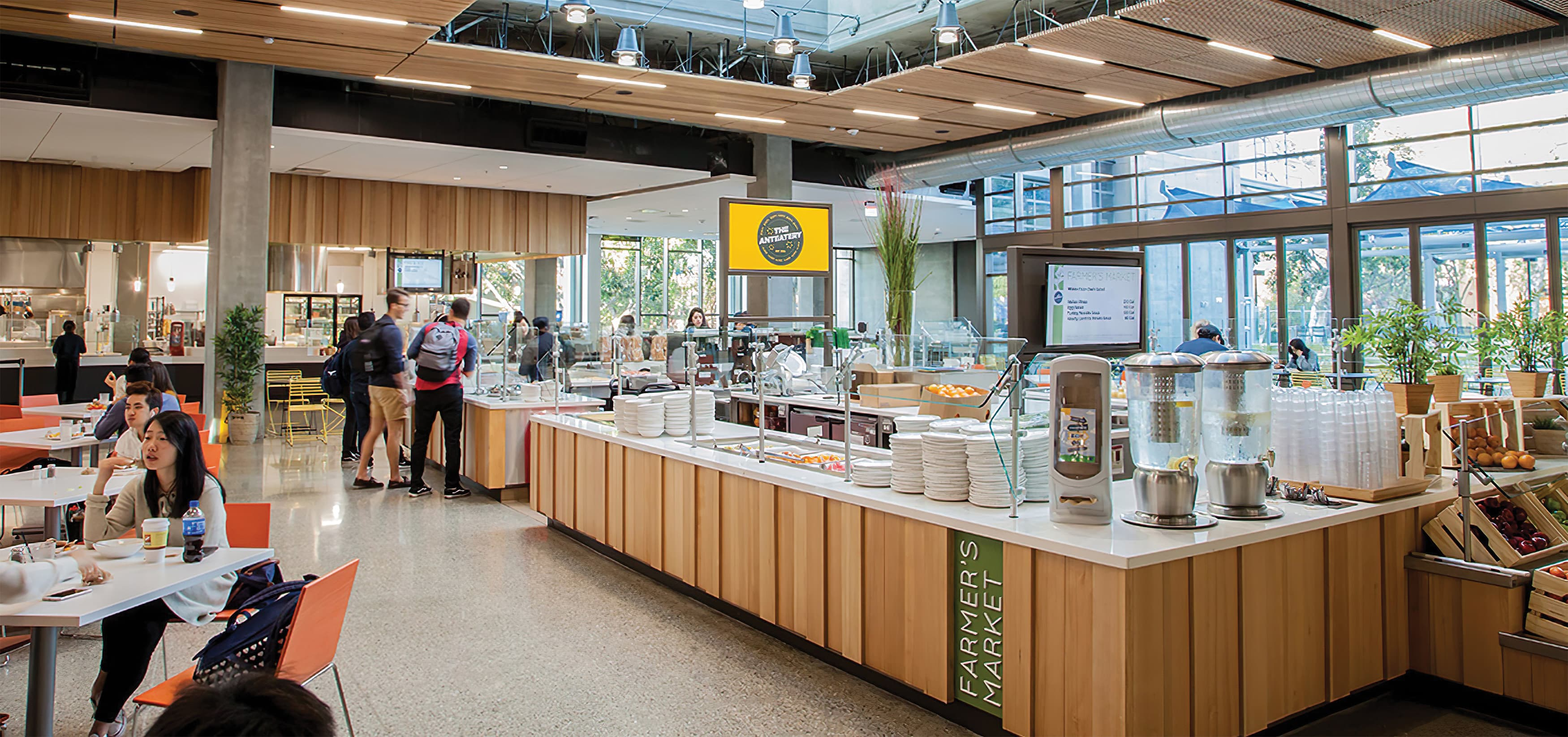 Anteatery Foodhall, the campus dining facility at University of California, Irvine. RSM Design worked to design tenant signage and environmental graphics.