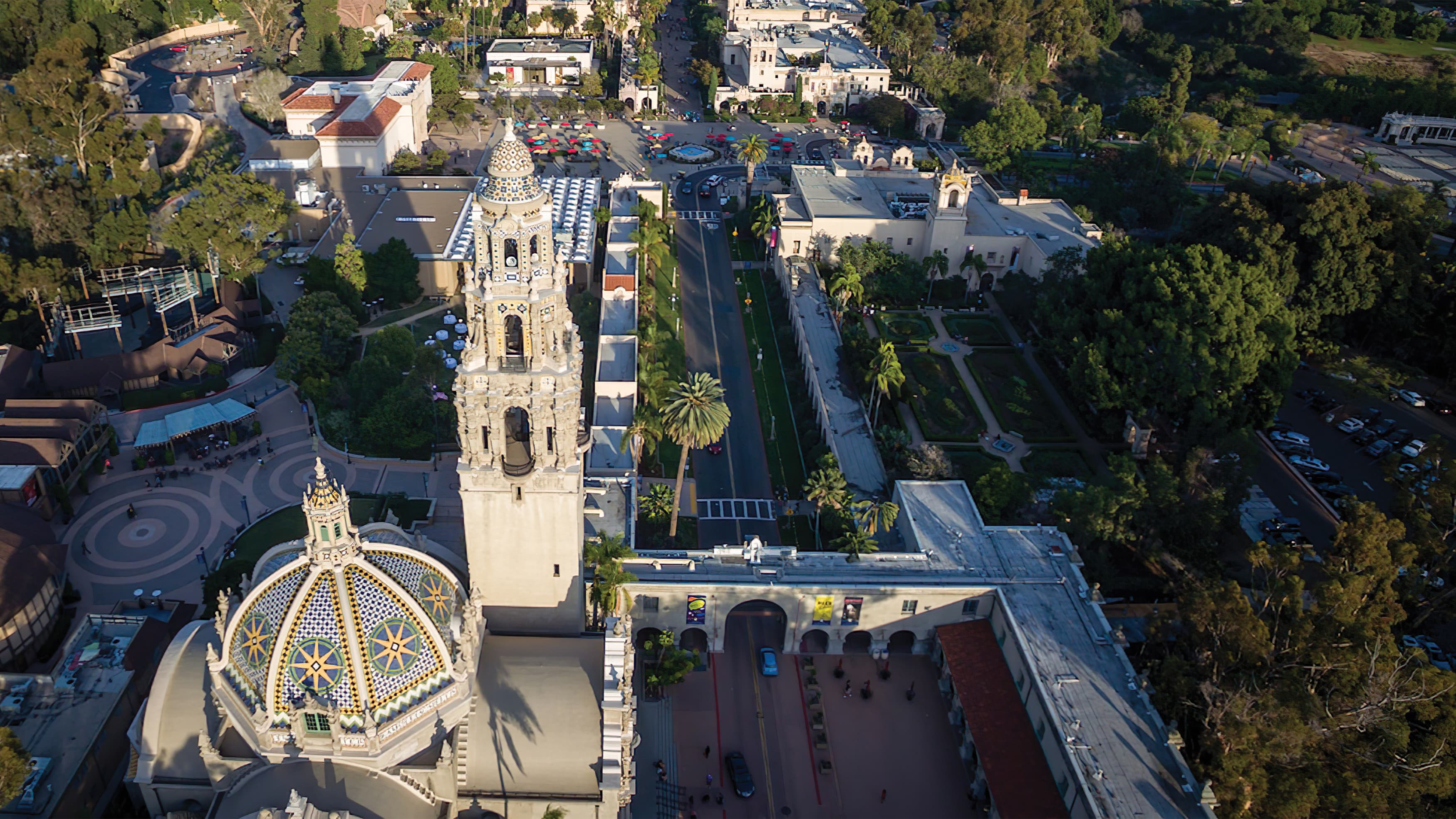 An aerial photograph of the iconic architecture of Balboa Park.