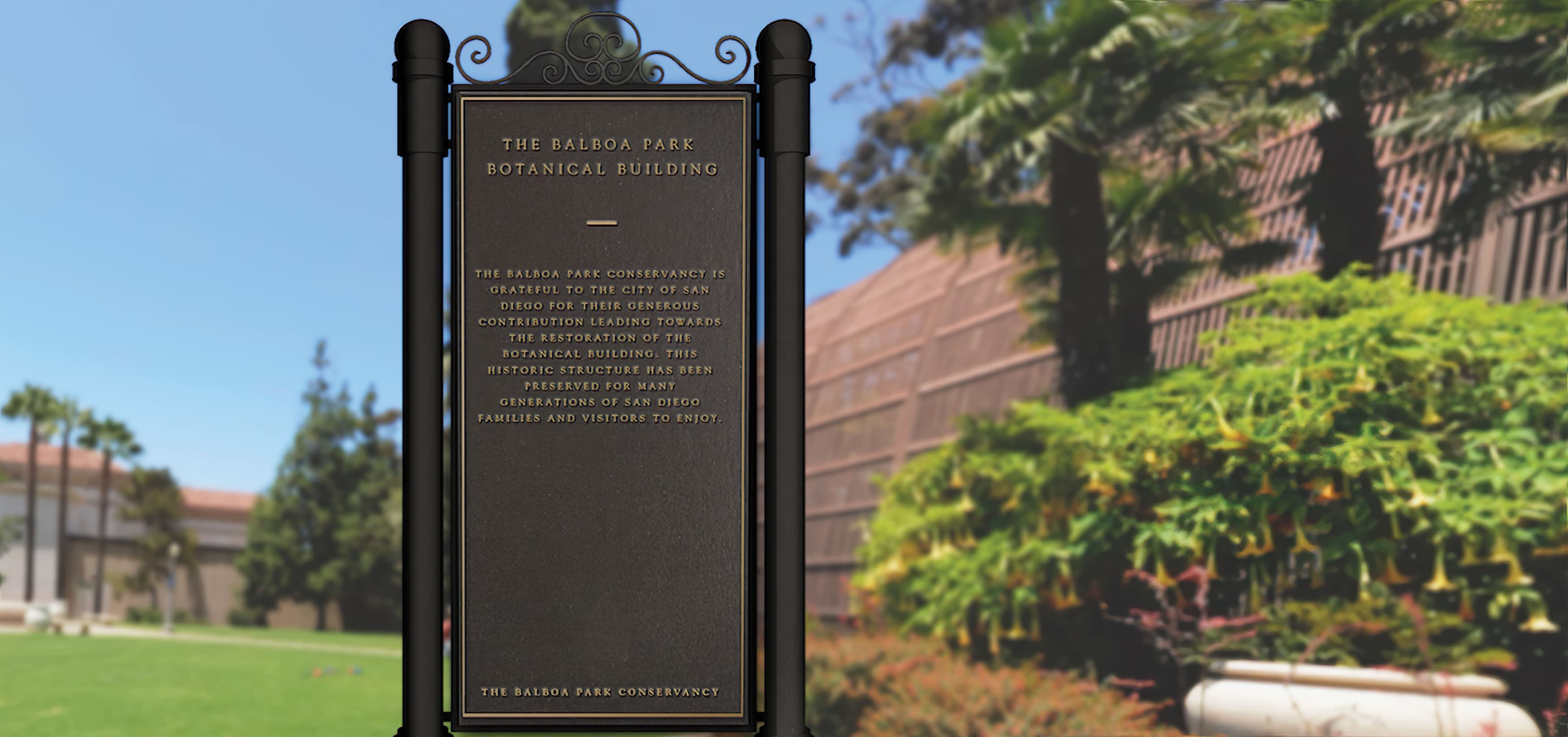 Balboa Botanical Building in San Diego, California. RSM Design performed services such as Wayfinding Signage, Exhibit Design, Donor Recognition, and Placemaking.