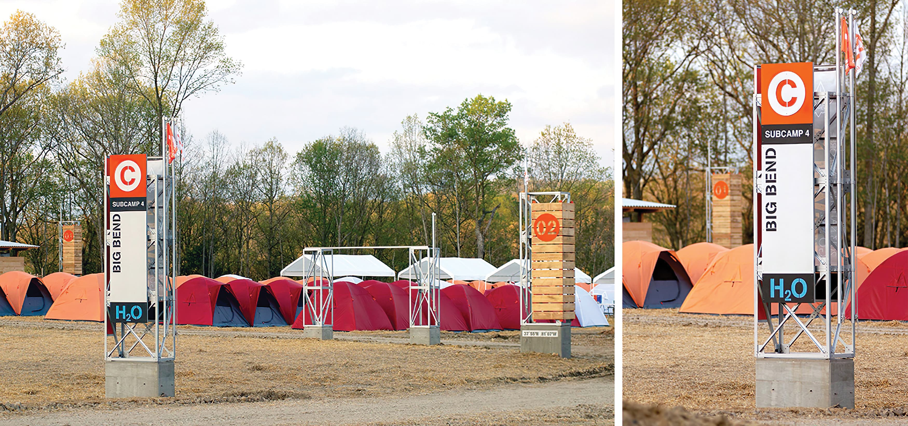 Base Camp Charlie at The Boy Scouts of America's Summit Bechtel Reserve in West Virginia. Wayfinding design.