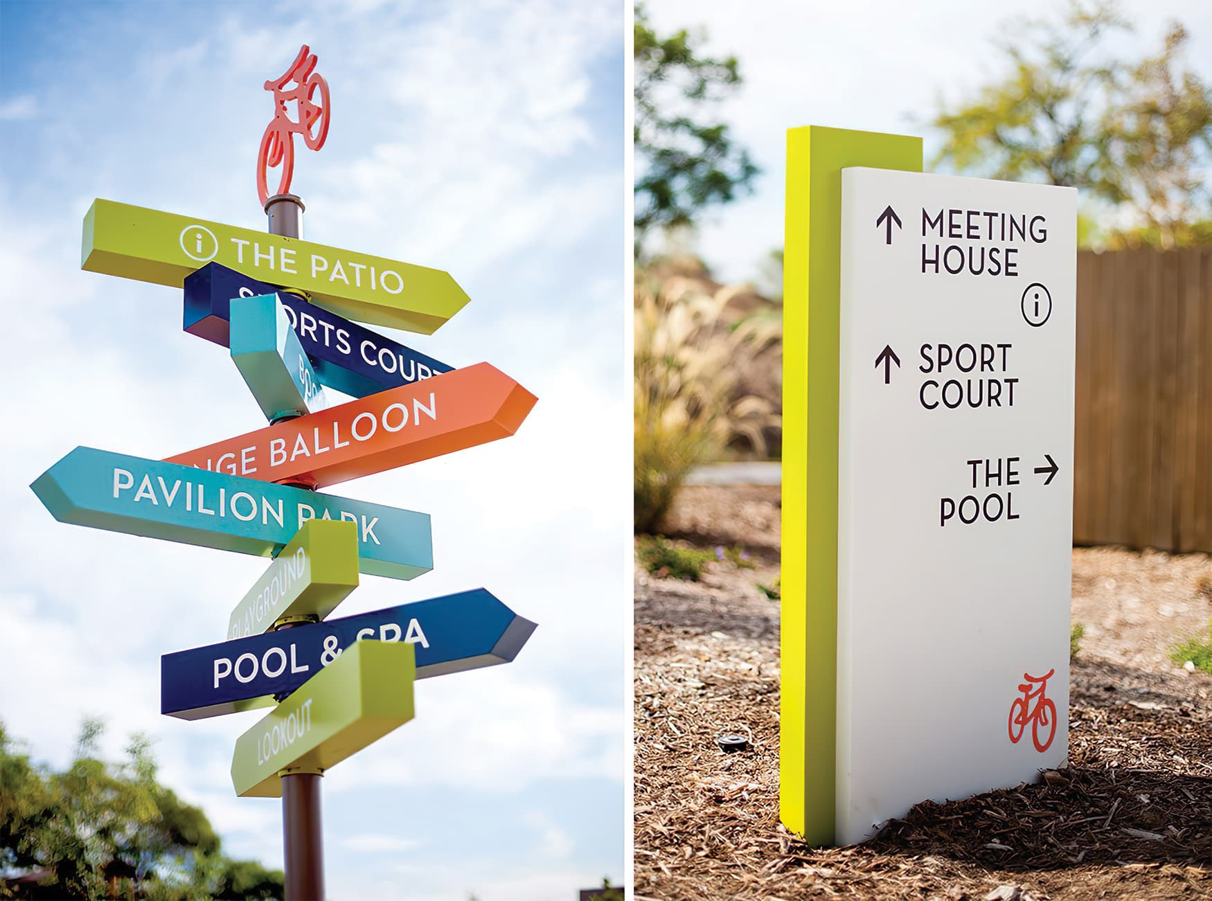 RSM Design worked with Great Park Neighborhoods to create a wayfinding and graphics system for Beacon Park, a residential neighborhood in Irvine, California. Pedestrian Wayfinding Directional.