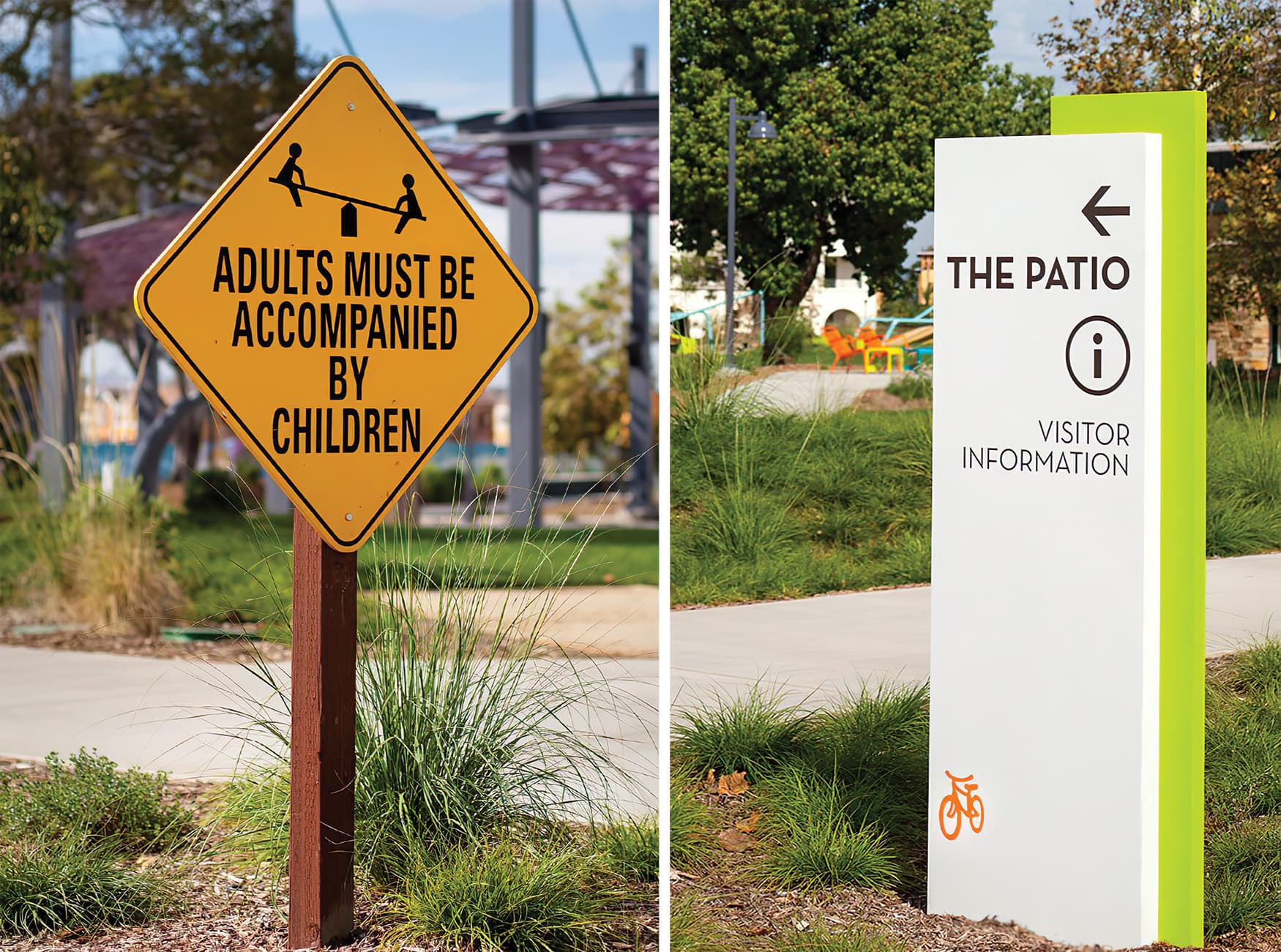 RSM Design worked with Great Park Neighborhoods to create a wayfinding and graphics system for Beacon Park, a residential neighborhood in Irvine, California. Pedestrian Wayfinding Directional Signage.