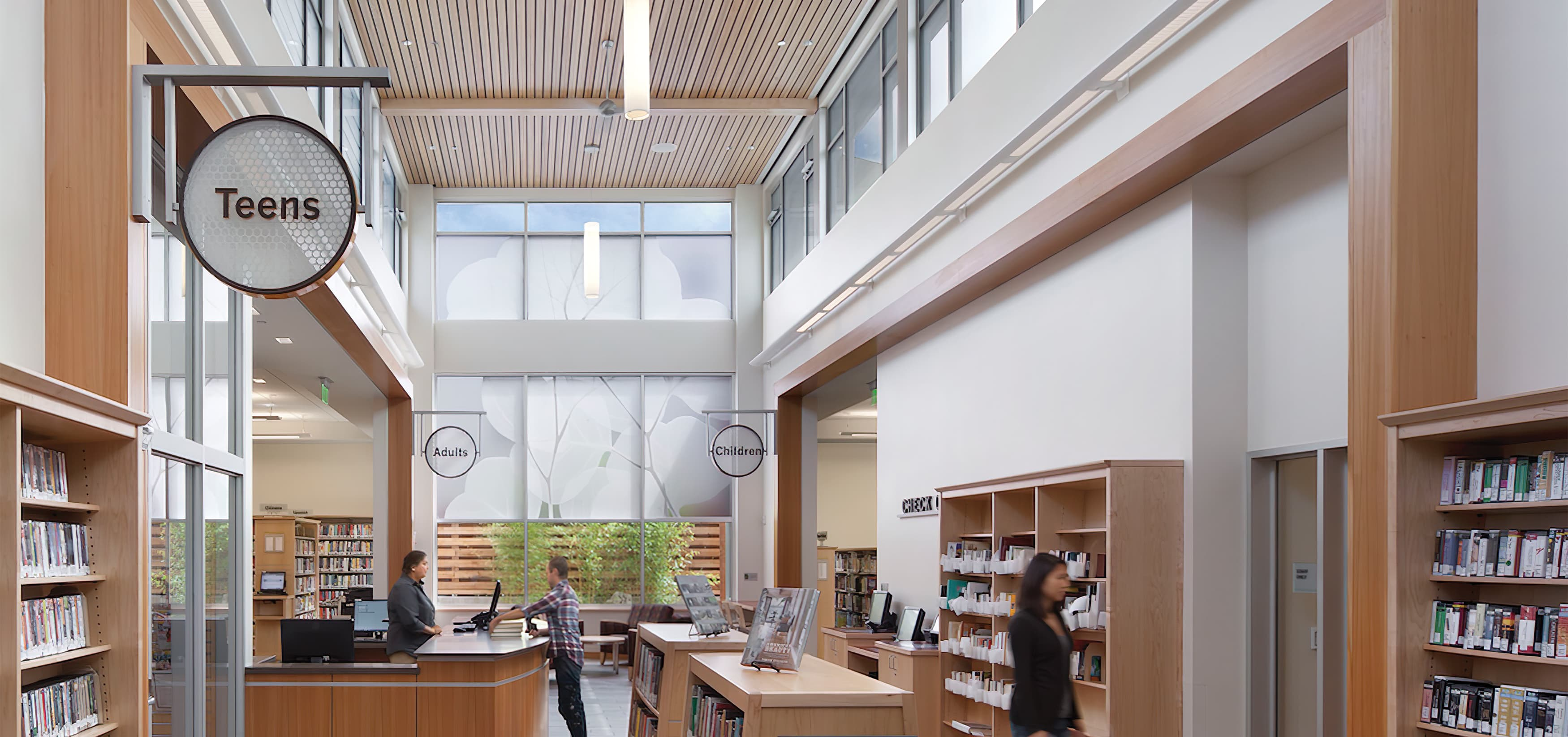 Berkeley Public Library South Branch. Our team developed a friendly and informative system of signage and placemaking elements in both the interior and exterior, our scope included identity and wayfinding signage.