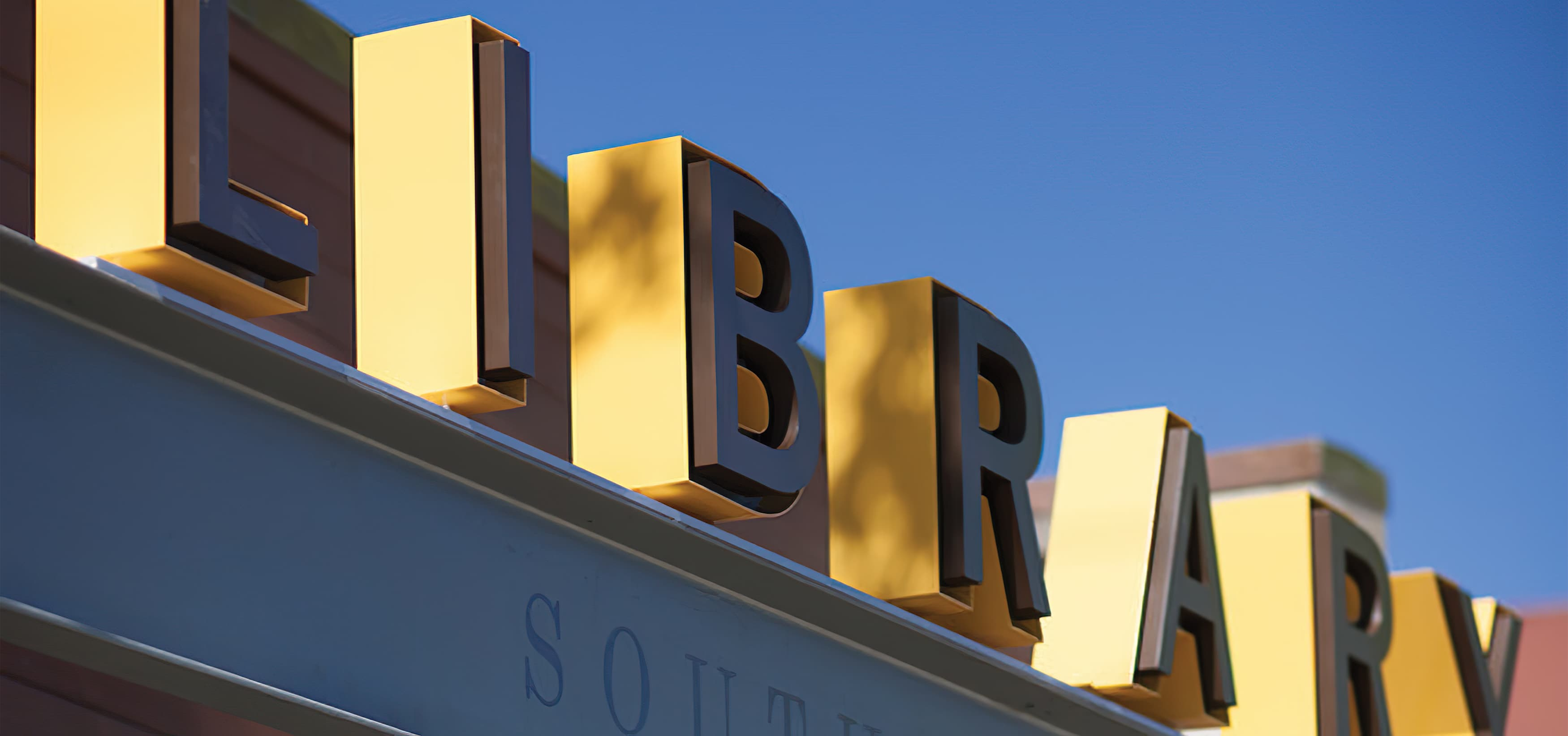 Berkeley Public Library South Branch. Our team developed a friendly and informative system of signage and placemaking elements in both the interior and exterior, our scope included identity and wayfinding signage. Fascia Signage.
