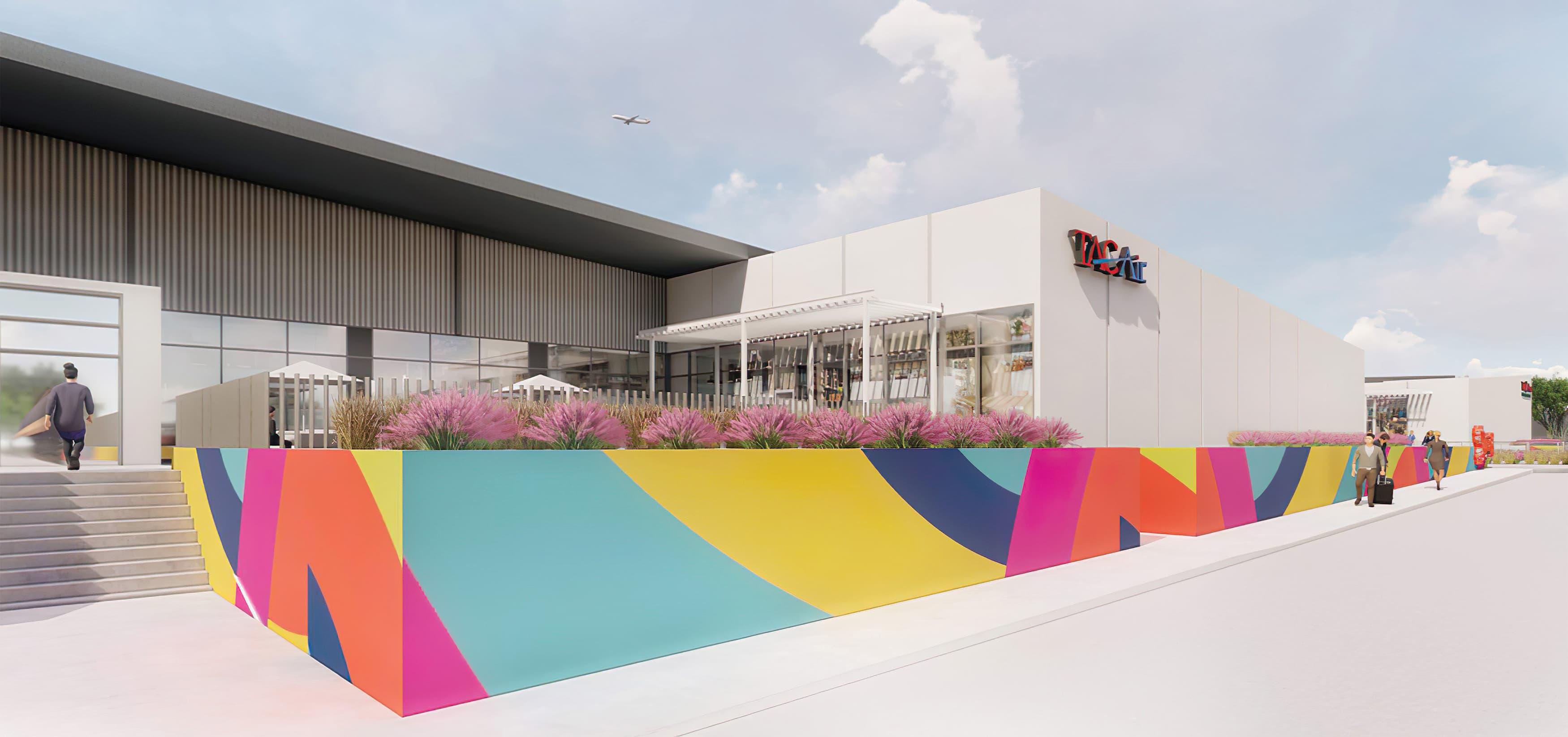 Braniff Center, a private aviation center, office space, and retail center in Dallas, Texas. Environmental Graphic Design. Graphic Architecture.