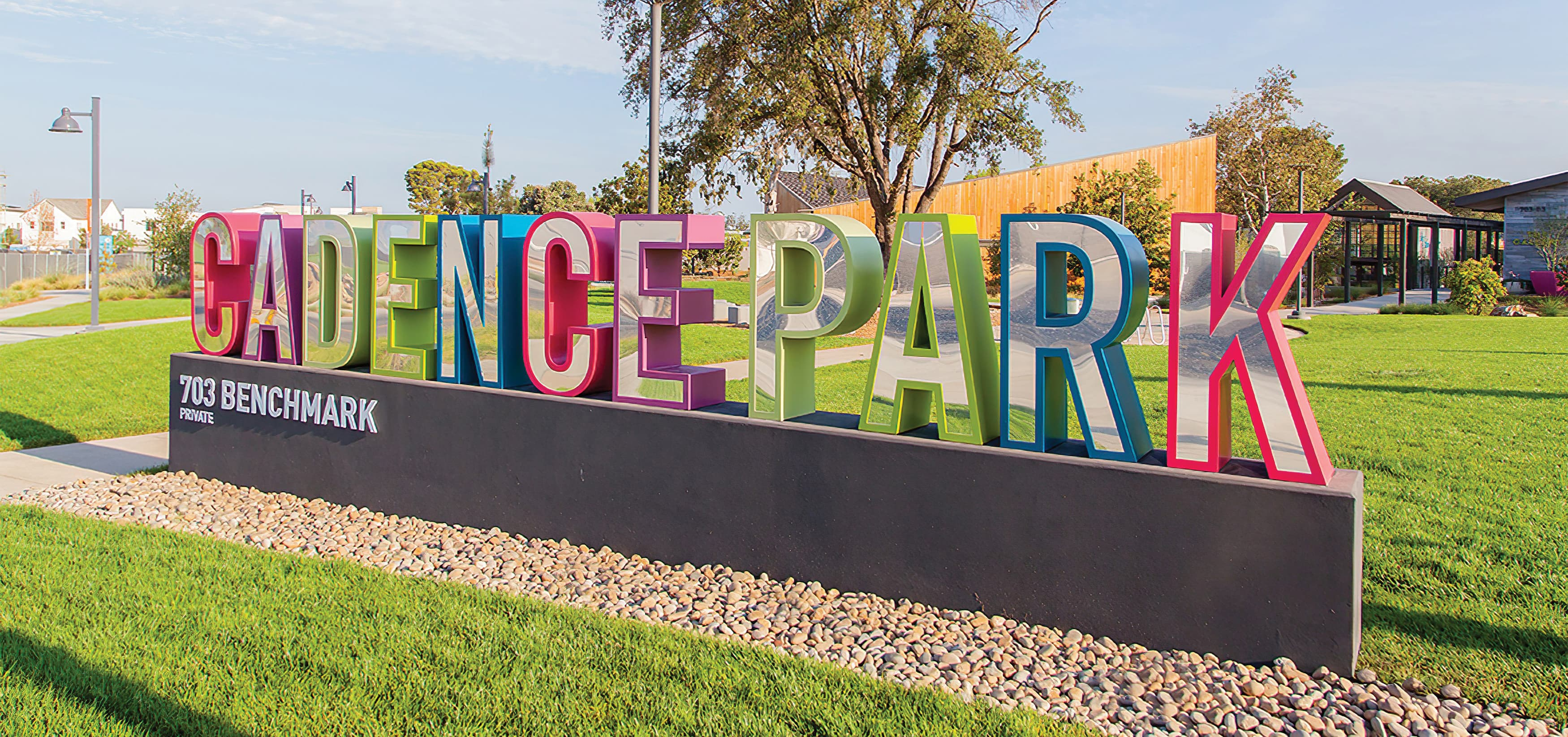 Cadence Park, a park within the Great Park Neighborhood in Irvine, California. RSM Design prepared Wayfinding Signage and Environmental Graphics. Signage Design. Monument Signage.