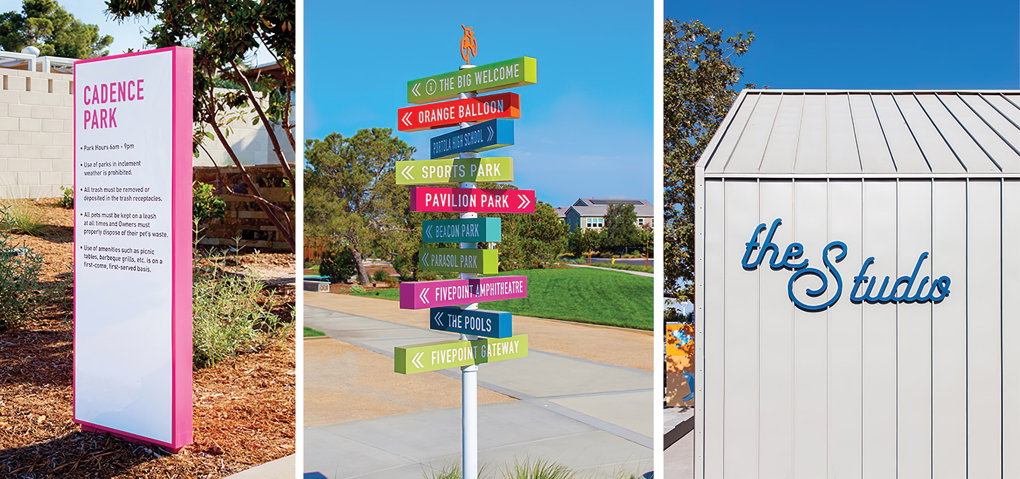 Cadence Park, a park within the Great Park Neighborhood in Irvine, California. RSM Design prepared Wayfinding Signage and Environmental Graphics. Signage Design. Directional Signage. Park Signage.