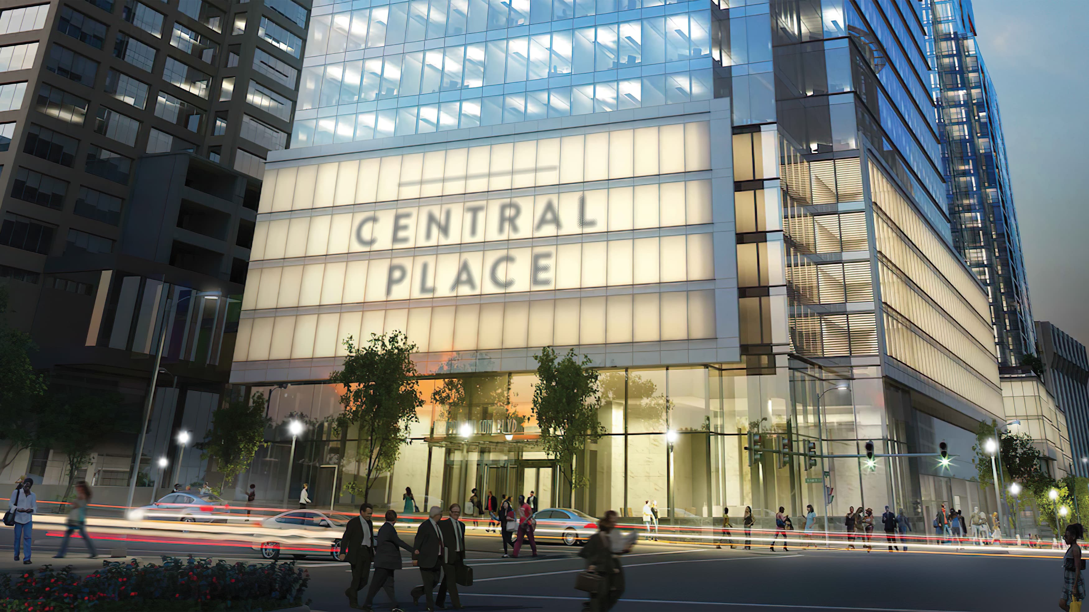 An image of a large glass building in an urban setting with prominent signage reading Central Place.