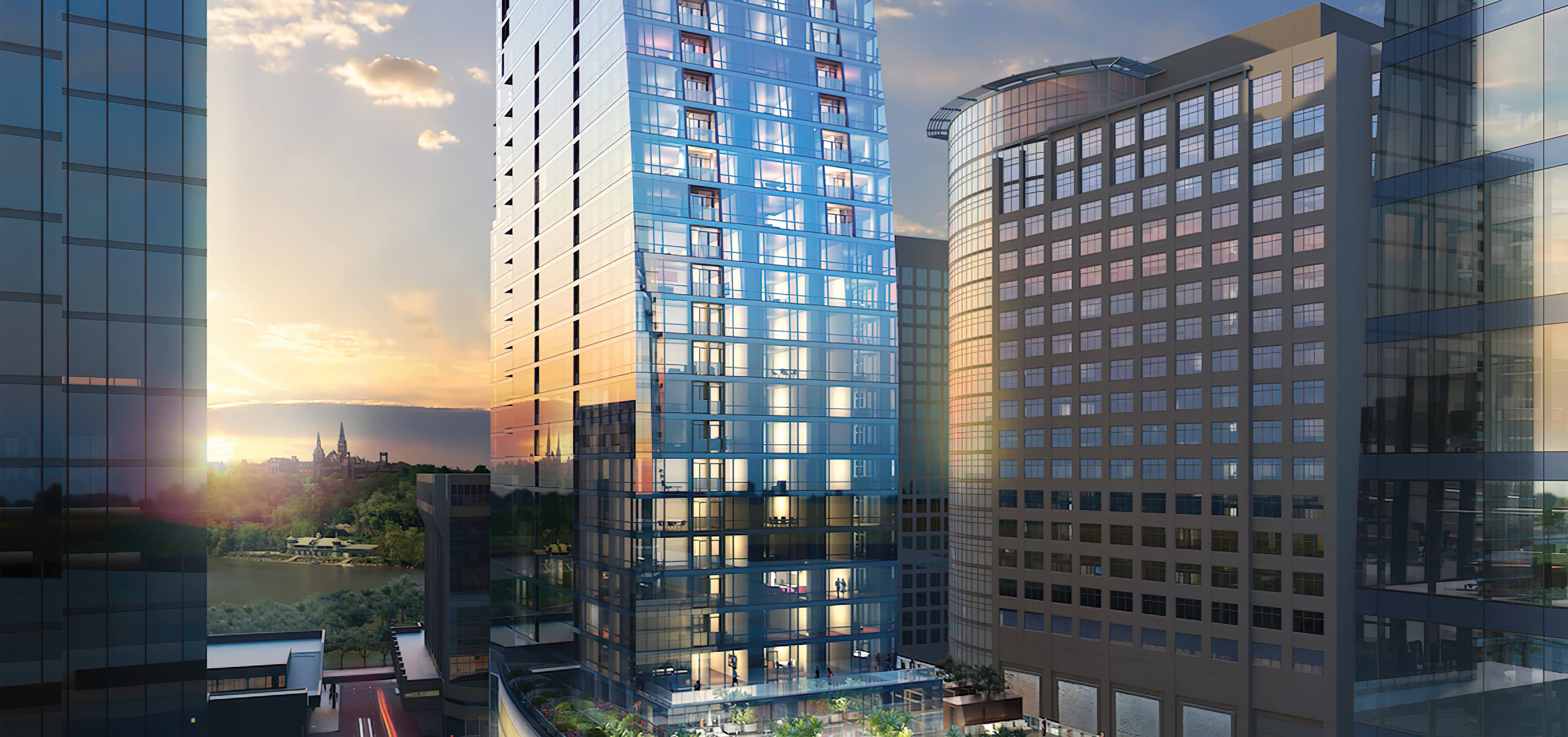 Central Place, a mixed-use project in Rosslyn, Virginia. RSM Design prepared a wayfinding and signage system.