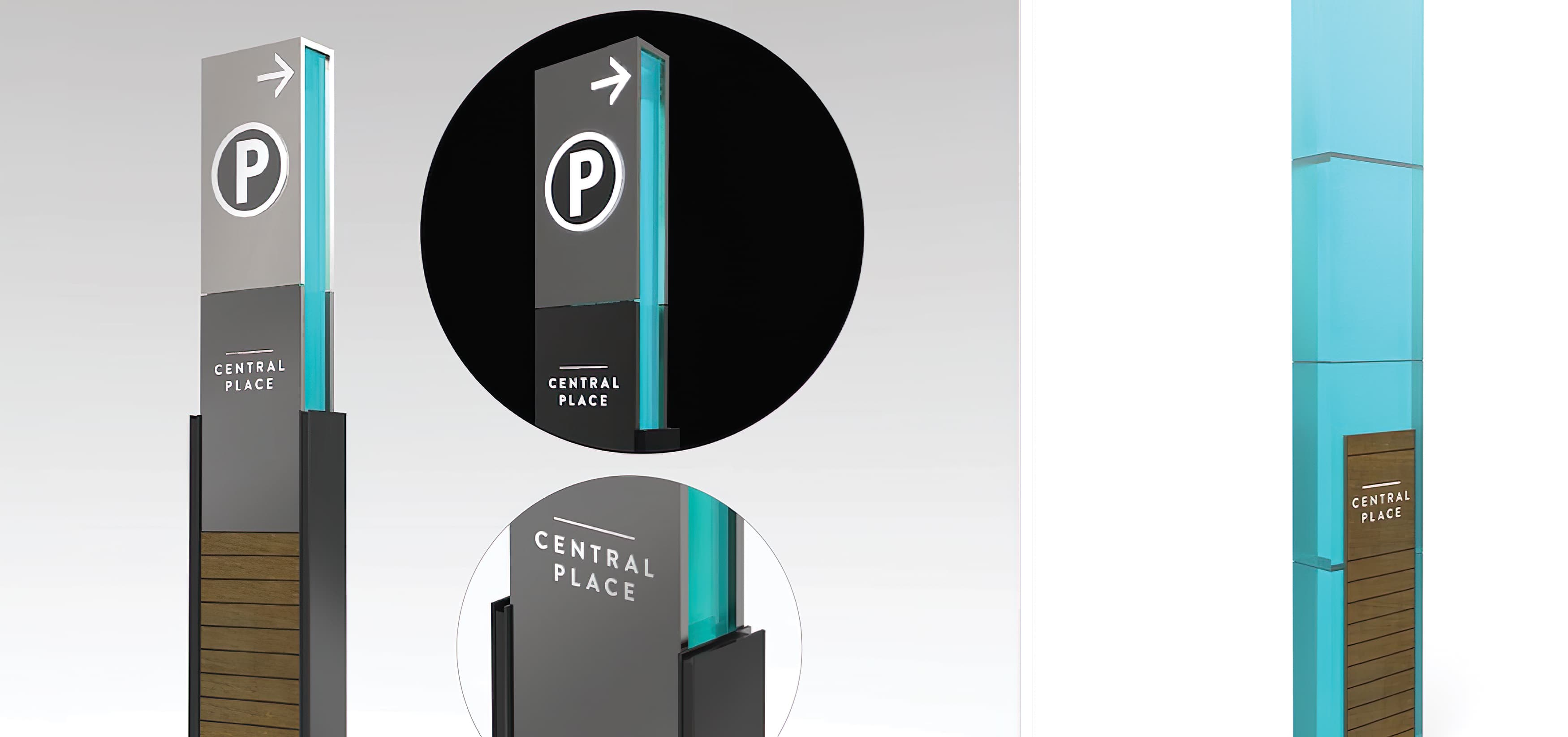 Central Place, a mixed-use project in Rosslyn, Virginia. RSM Design prepared a wayfinding and signage system. Vehicular Wayfinding Signage. Parking Garage Signage.