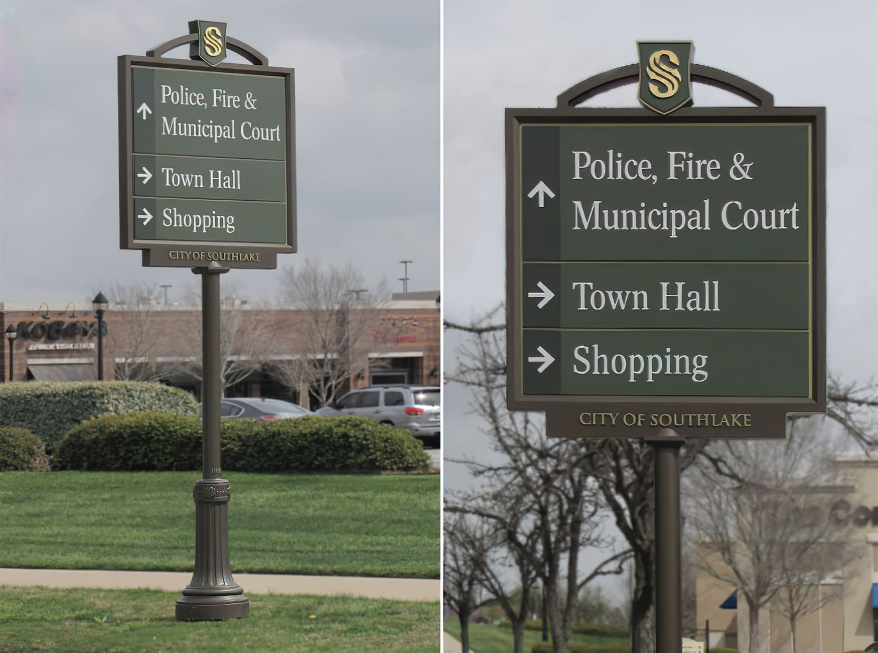 RSM Design worked with The City of Southlake to develop wayfinding signage around the city. Civic Design. Vehicular Wayfinding Design.