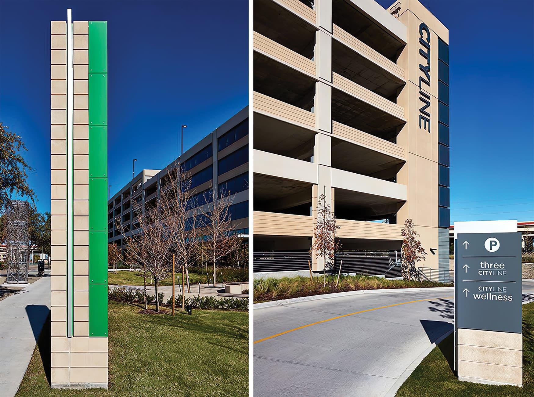 CityLine a mixed-use development in Dallas, Texas. Identity and wayfinding design. Vehicular Wayfinding Design.