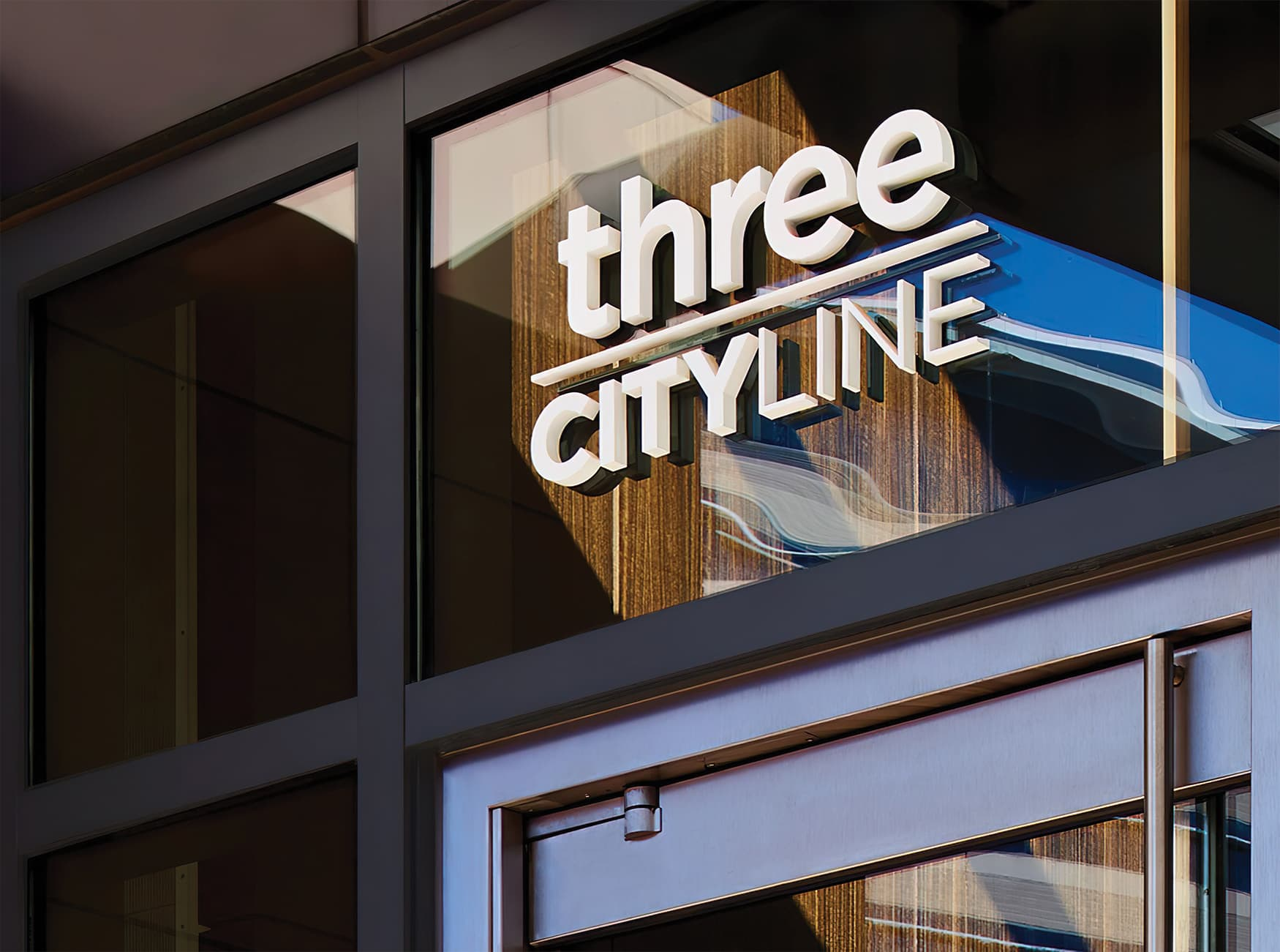 CityLine a mixed-use development in Dallas, Texas. Identity and wayfinding design. Project Identity Signage. Fascia Signage.