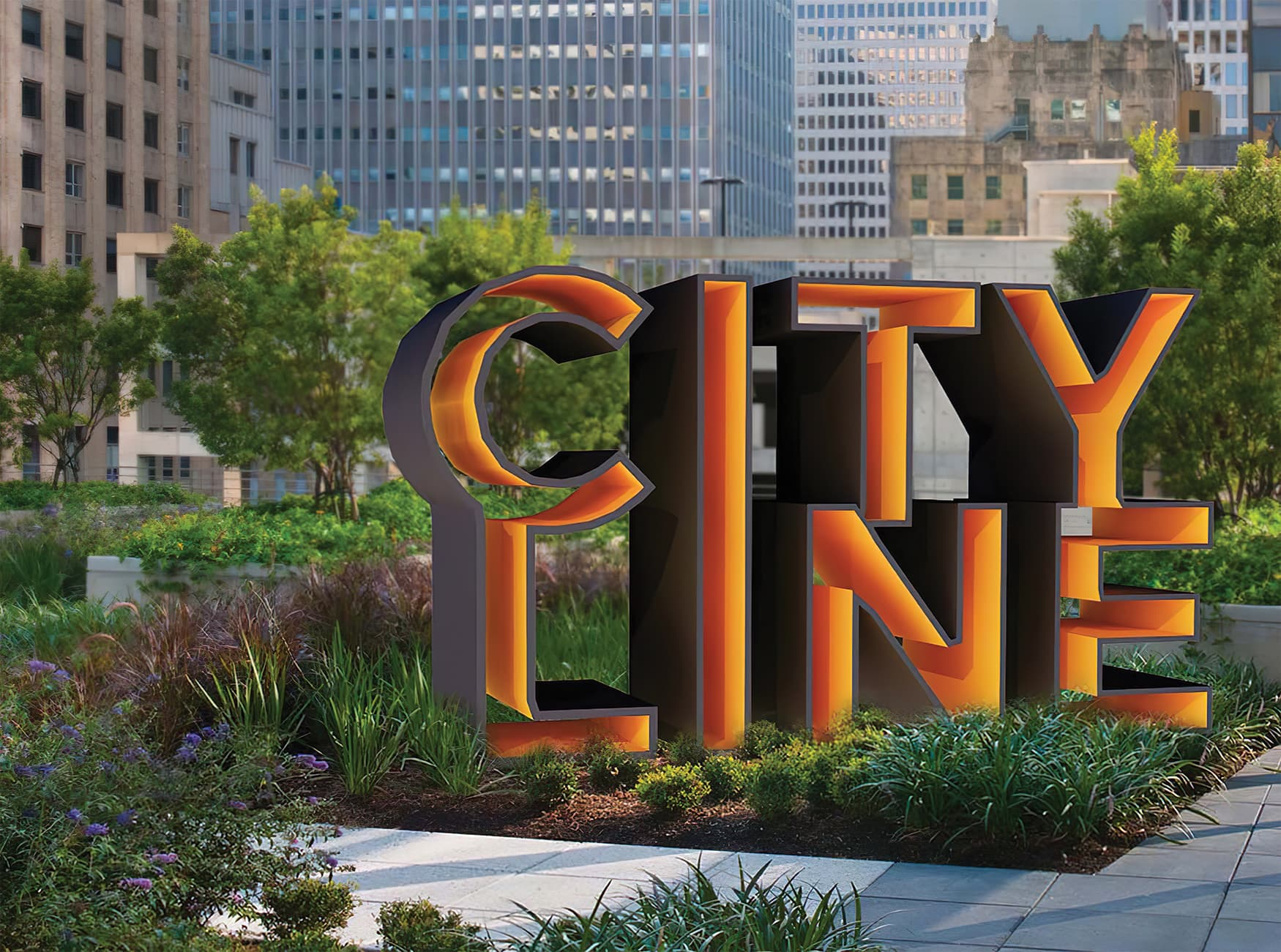 CityLine a mixed-use development in Dallas, Texas. Identity and wayfinding design. Monument Signage. Park Signage.