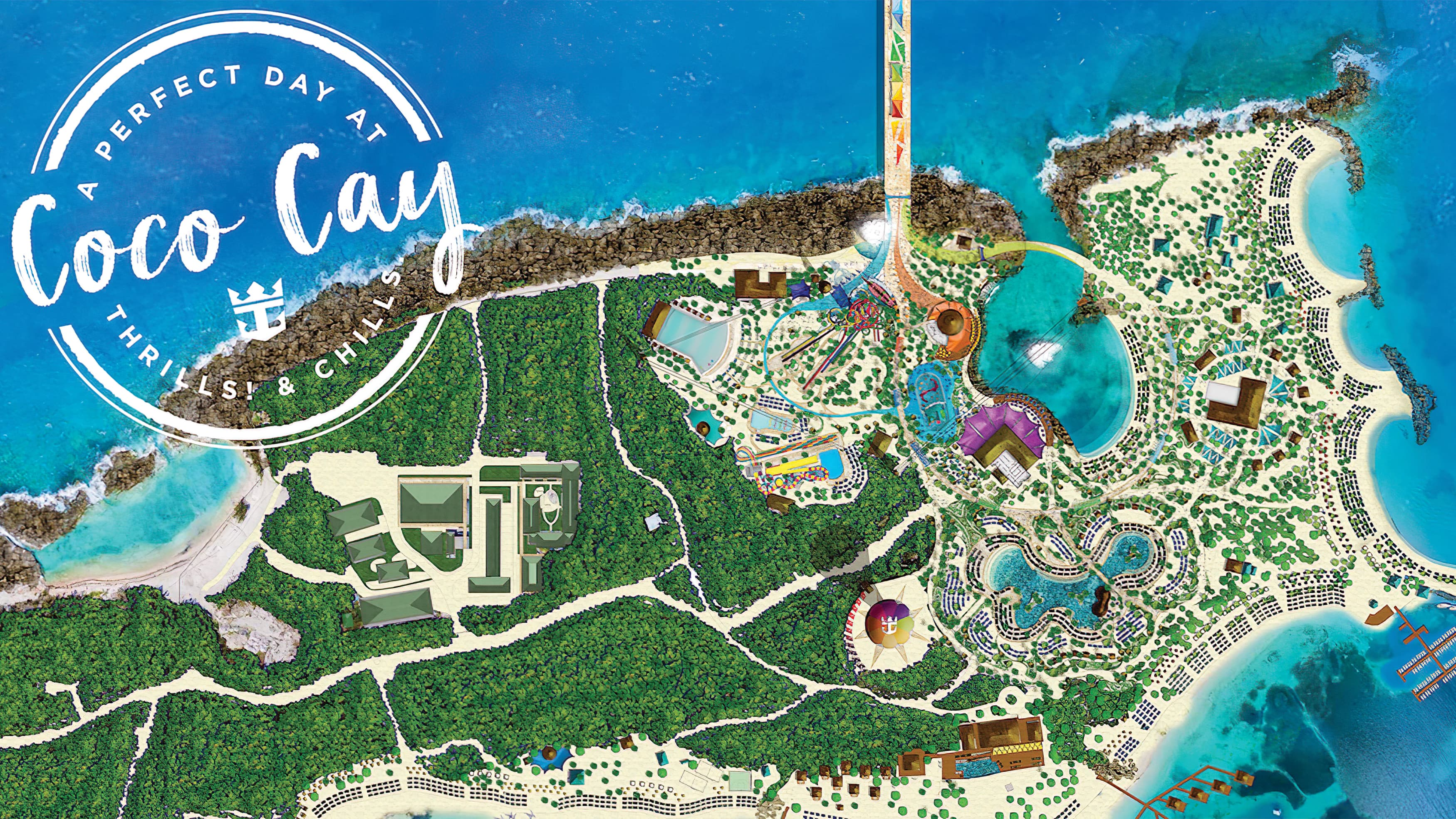 A playful, illustrative map of Coco Cay Island located in the Bahamas