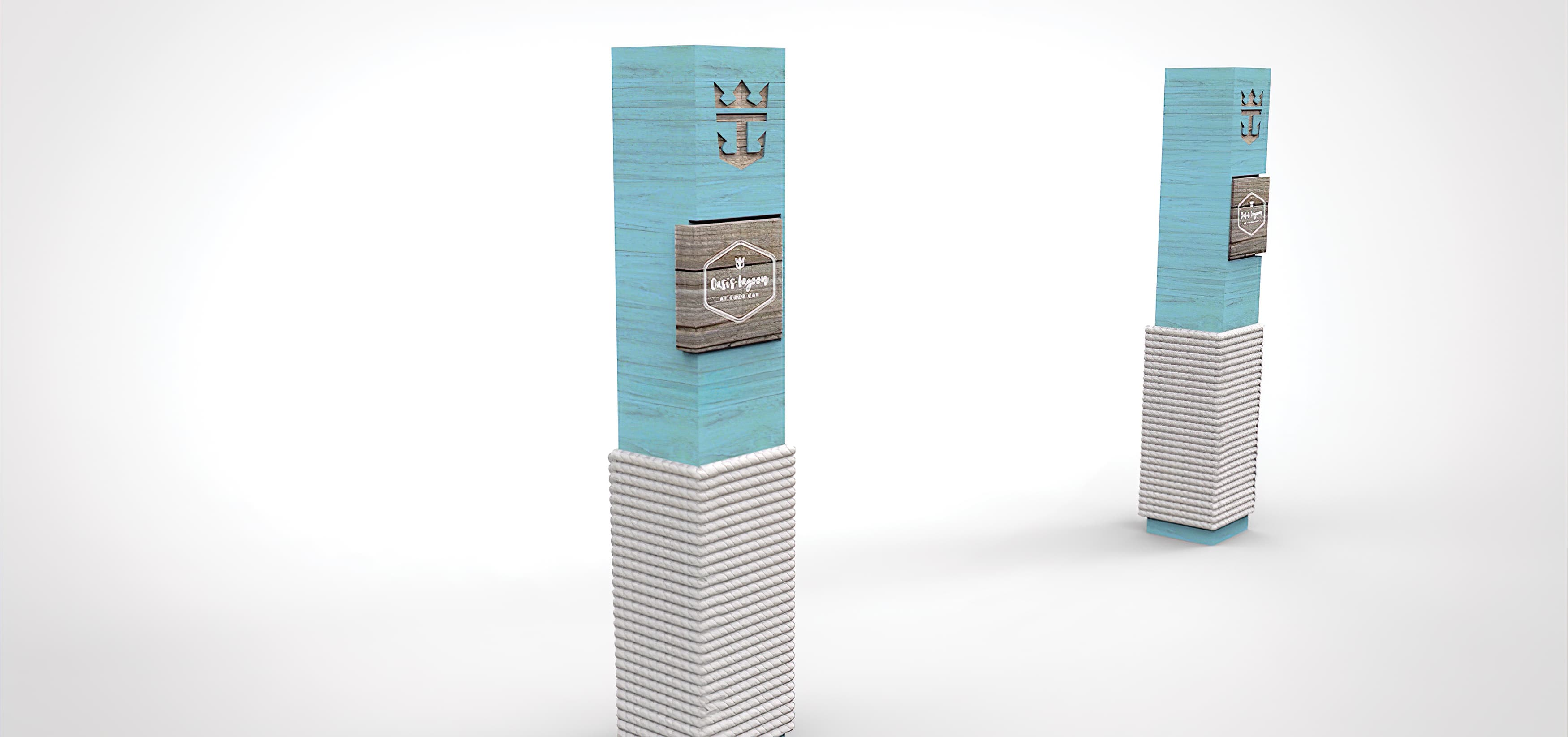 RSM Design developed a series of sculptural identity and wayfinding pieces for Coco Cay, an island in the Bahamas owned by Royal Caribbean.