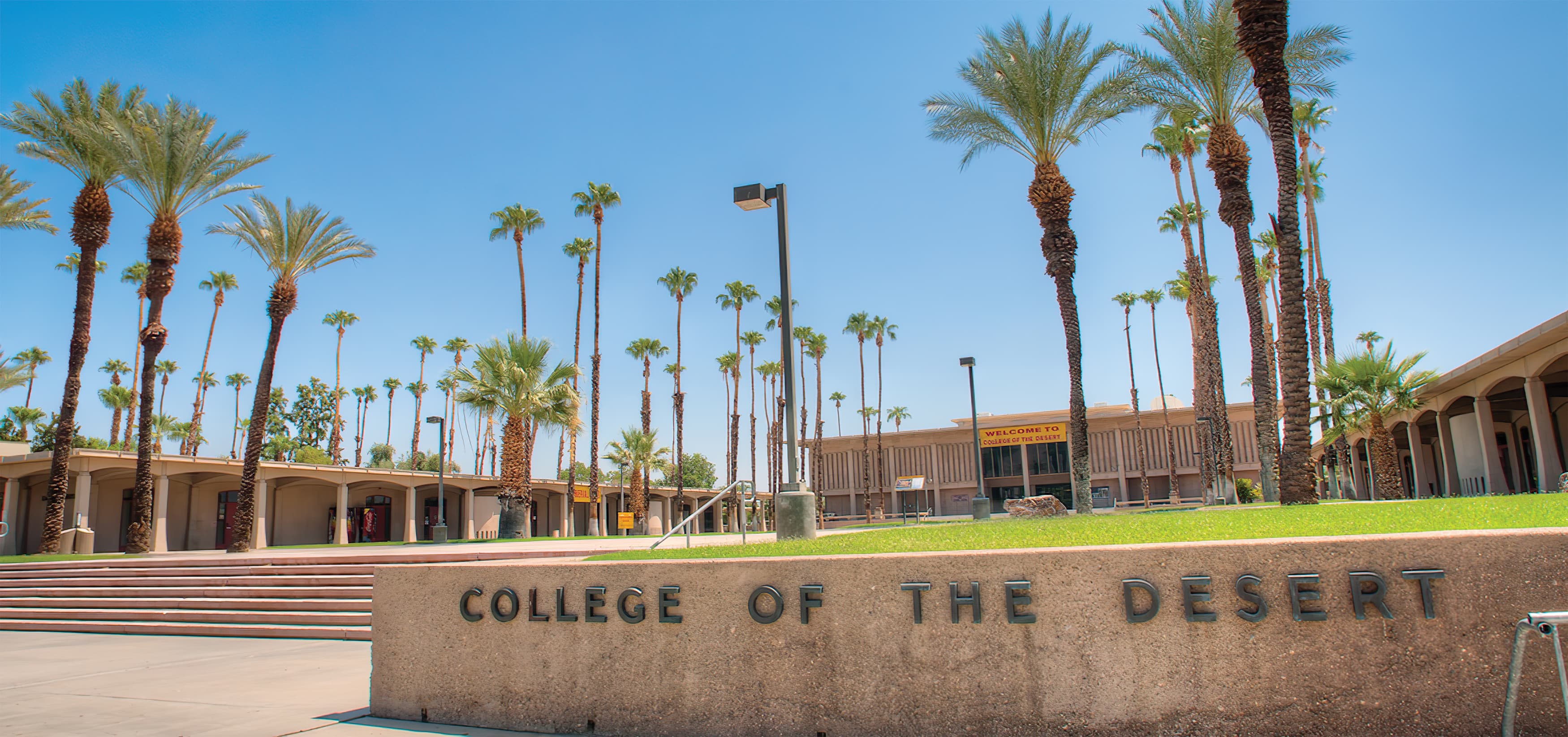 College of the Desert in Palm Springs, California. RSM Design created the campus wide signage guidelines, which includes both vehicular and pedestrian wayfinding and building identities.