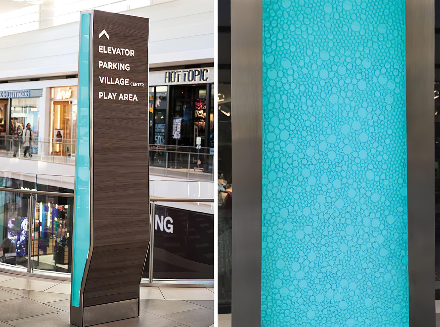 Del Amo Fashion Center located in Torrance, California. Retail shopping center pedestrian wayfinding design.
