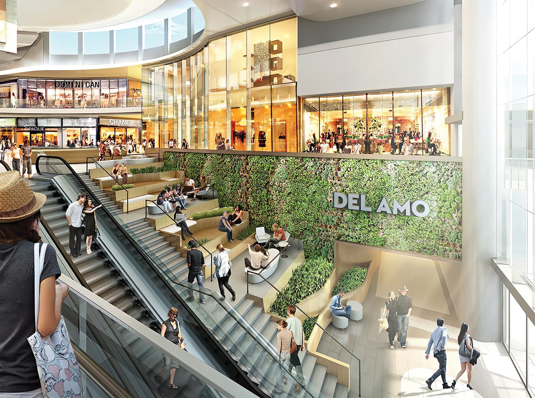 Del Amo Fashion Center located in Torrance, California. Project identity integrated into living wall.