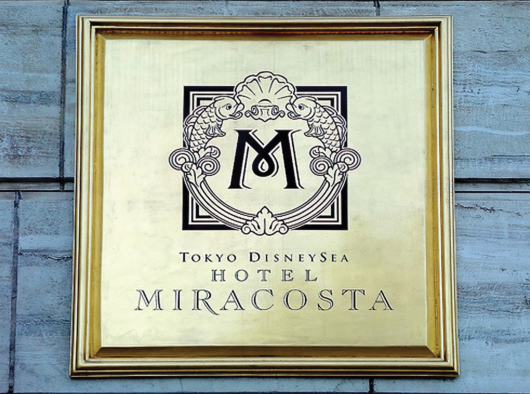 Disney Hotel Miracosta, located in Tokyo, Japan. Hospitality Design. RSM Design was commissioned to create the identity, logo, branding, and signage. Identity Plaque Design.