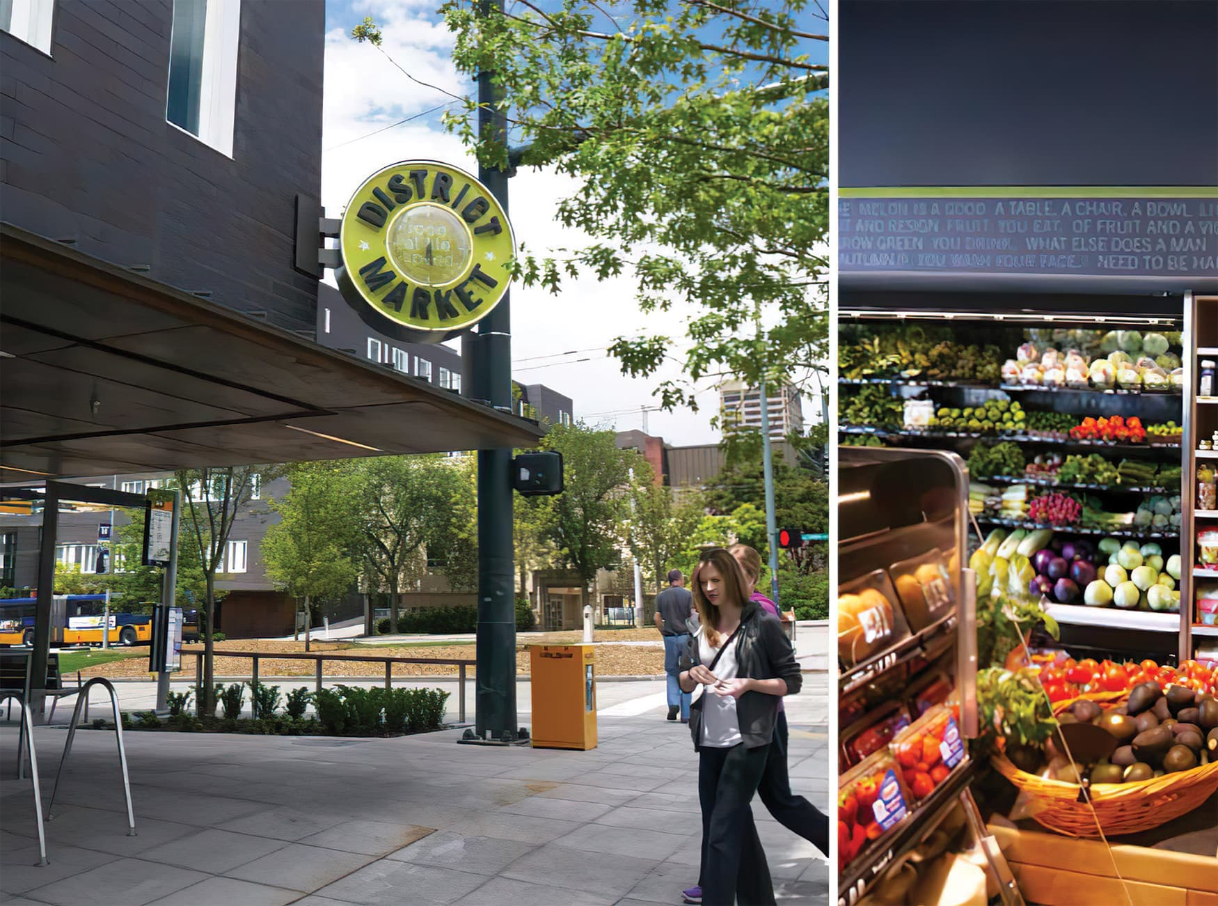 District Market, a student market located by the University of Washington's campus. Signage Design.